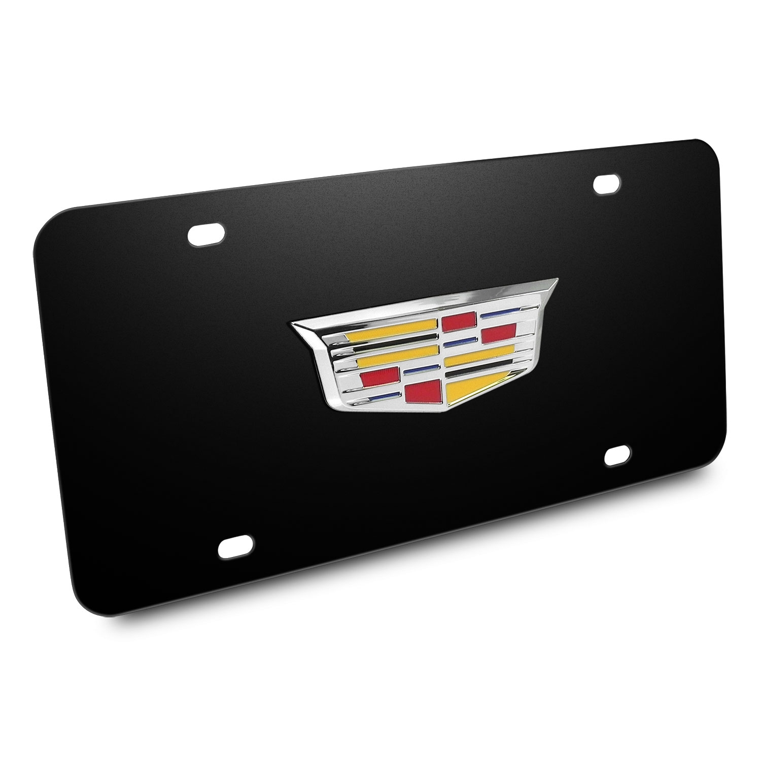 Cadillac Crest 3d Logo Black Stainless Steel License Plate