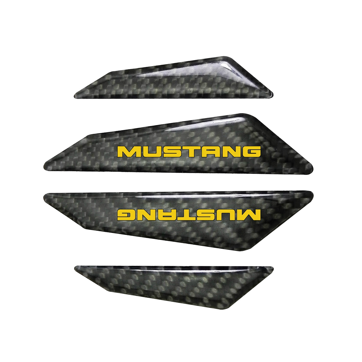 Ford Mustang in Yellow Real Black Carbon Fiber Door Edge Guard Decal