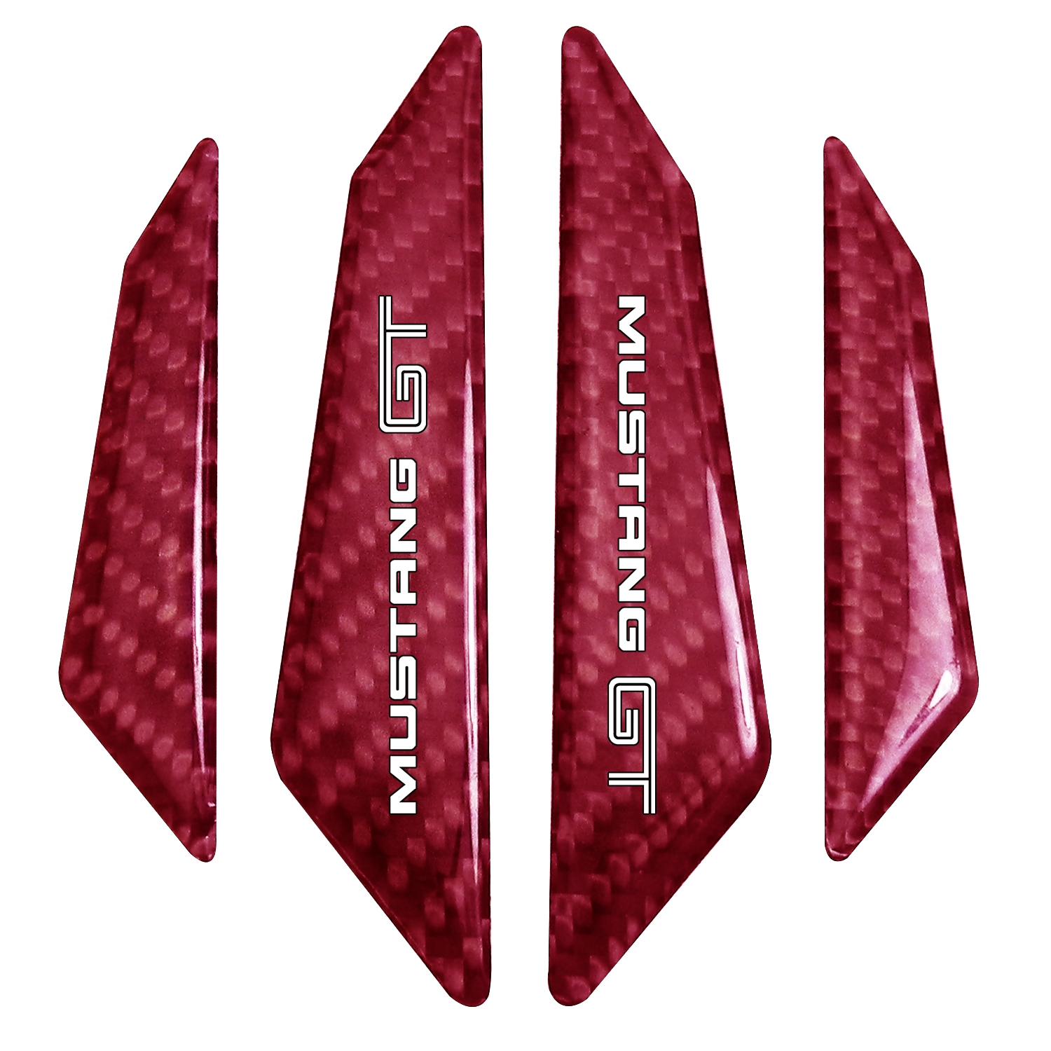 Ford Mustang Script Real Red Carbon Fiber Door Edge Guard Decal