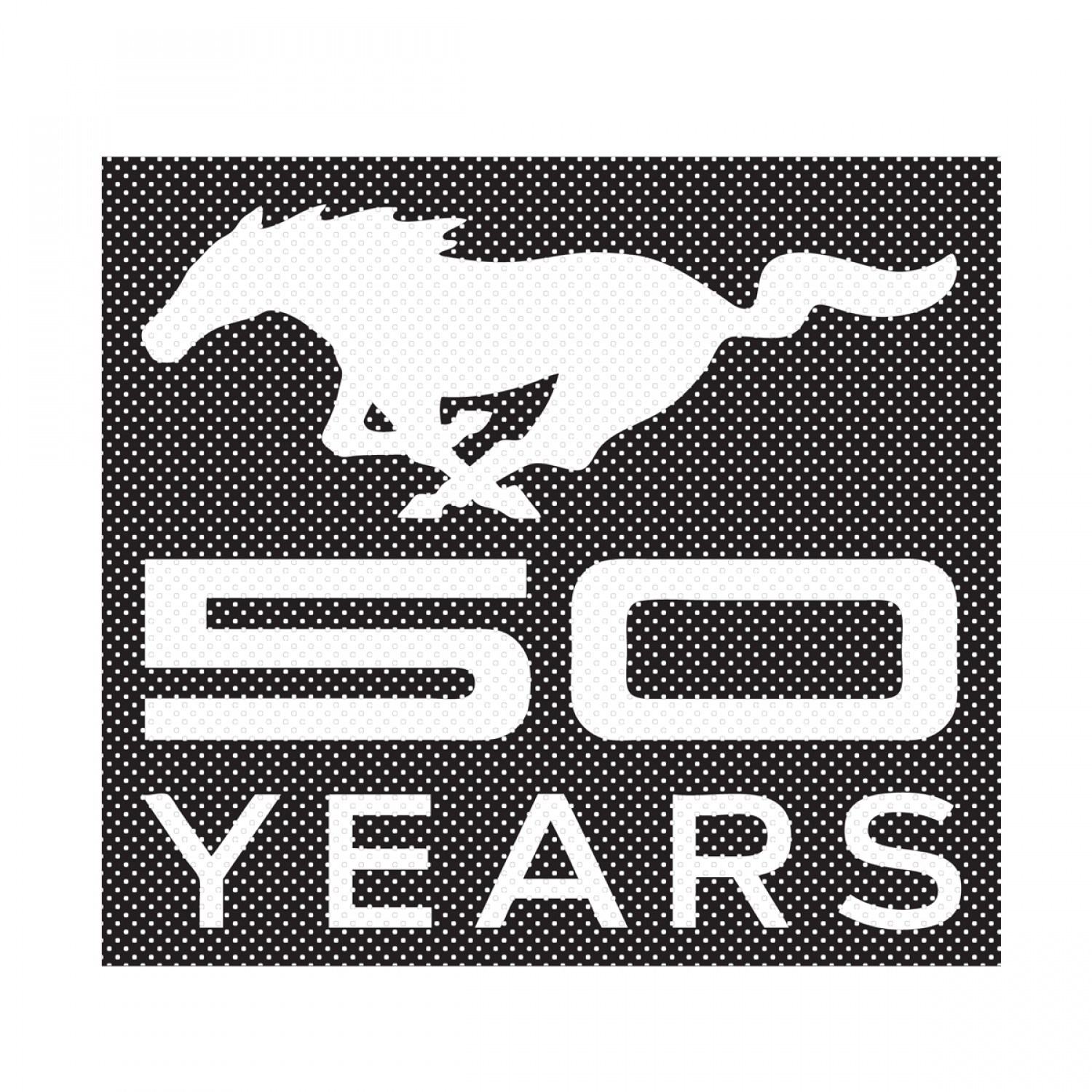 "Ford Mustang 50 Years 12"" 3M Perforated Unobstructed View Window Graphic Decorative Decal"