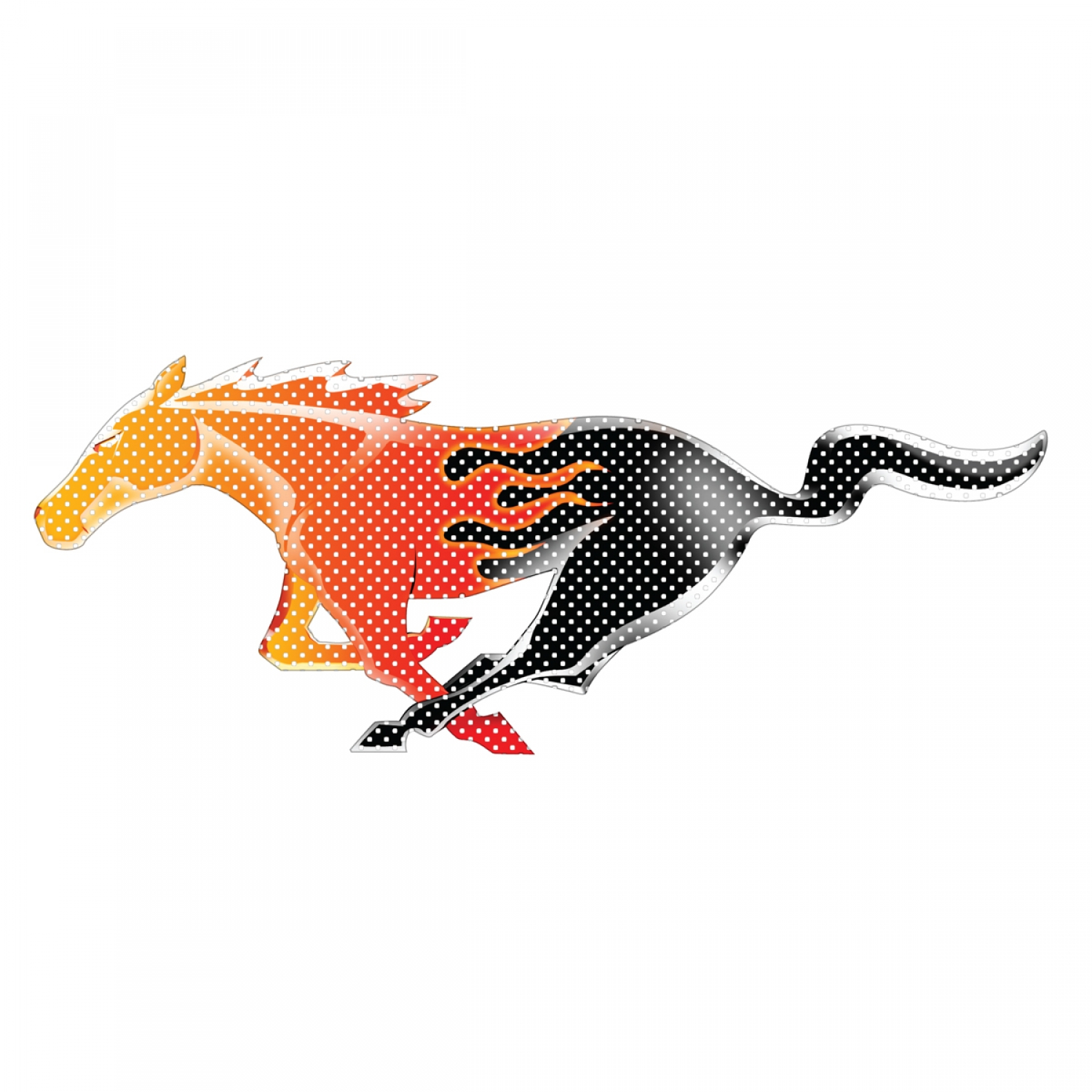 """Ford Mustang Flame Pony 12"""" 3M Perforated Unobstructed View Window Graphic Decorative Decal"""