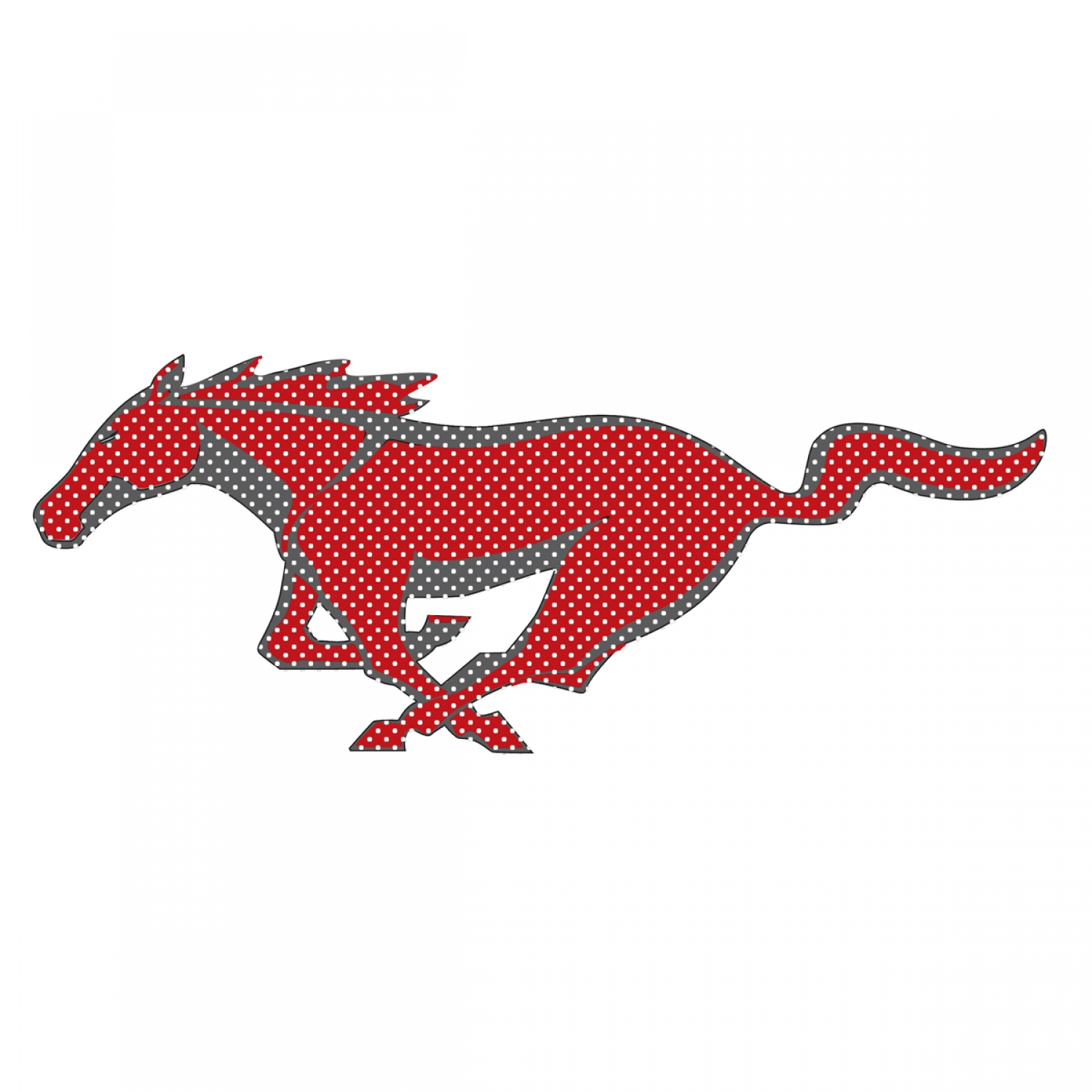 "Ford Mustang Pony in Red 12"" 3M Perforated Unobstructed View Window Graphic Decorative Decal"