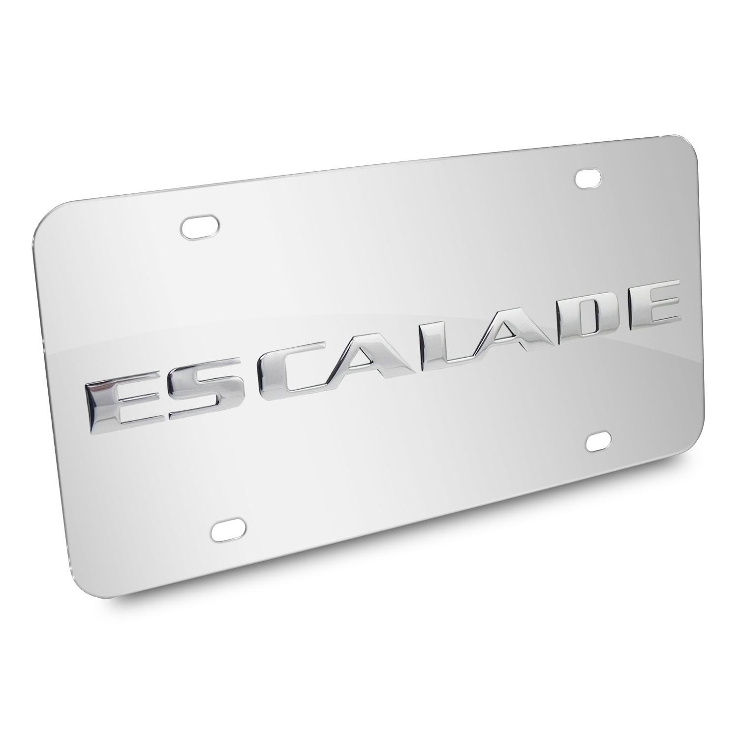 Cadillac Eacalade Name 3D Logo Chrome Stainless Steel License Plate