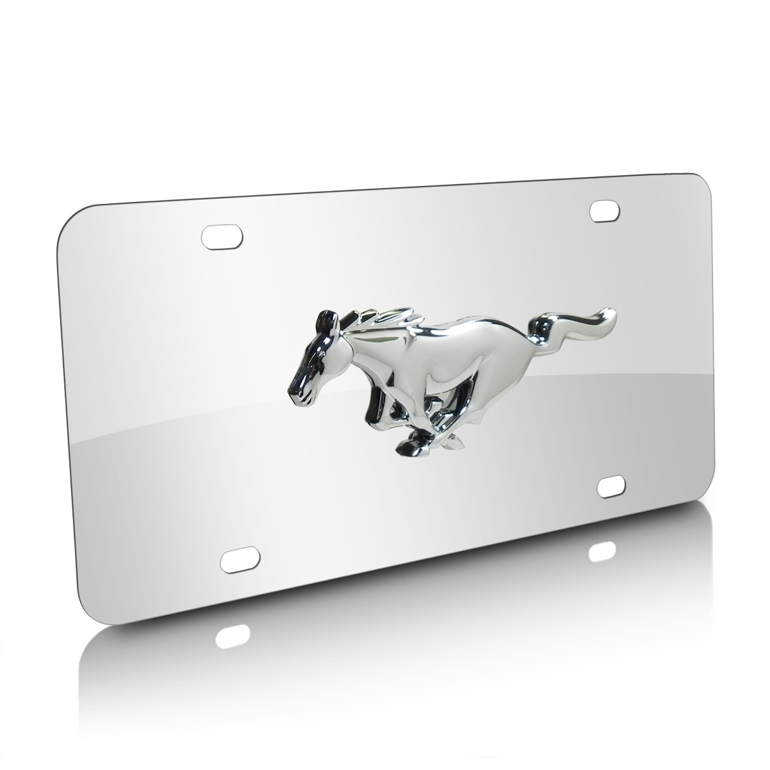 Ford Mustang 3D Logo Chrome Stainless Steel License Plate