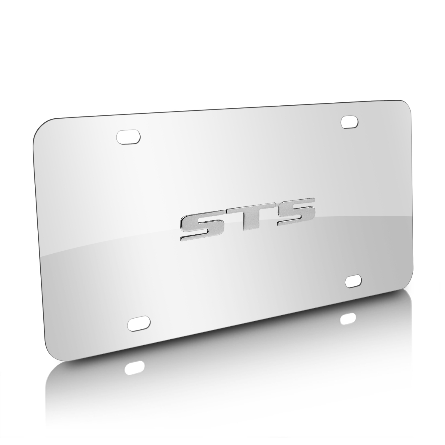 Cadillac STS Name 3D Logo Chrome Stainless Steel License Plate