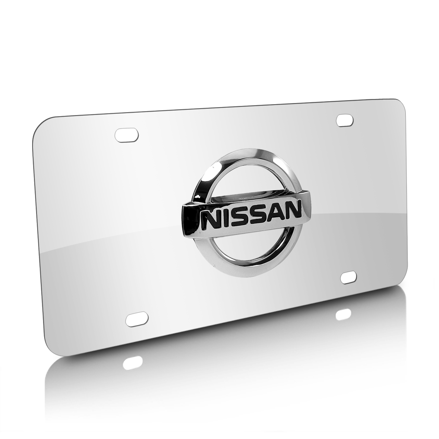 Nissan 3D Logo Chrome Stainless Steel License Plate