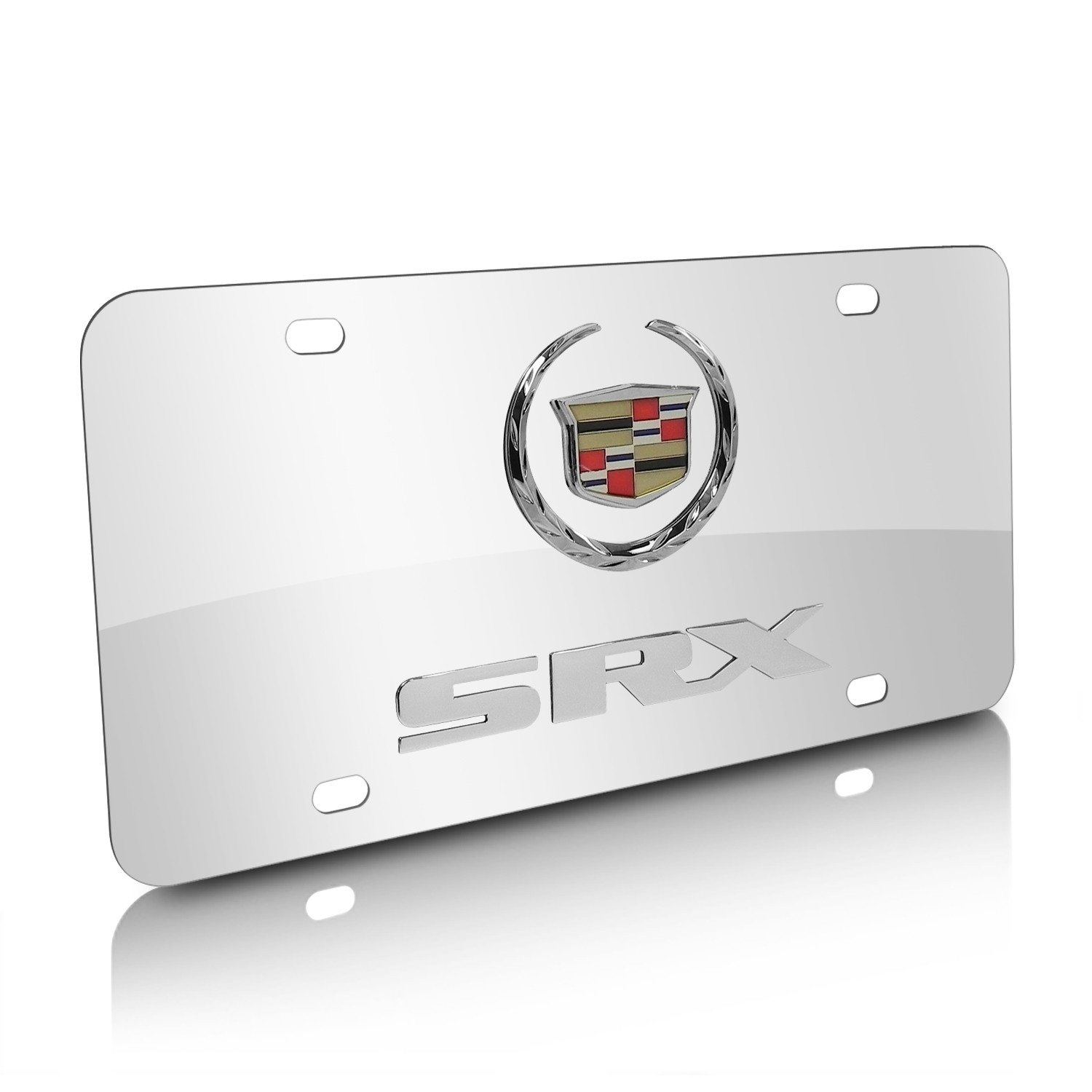 Cadillac SRX Double 3D Logo Chrome Stainless Steel License Plate