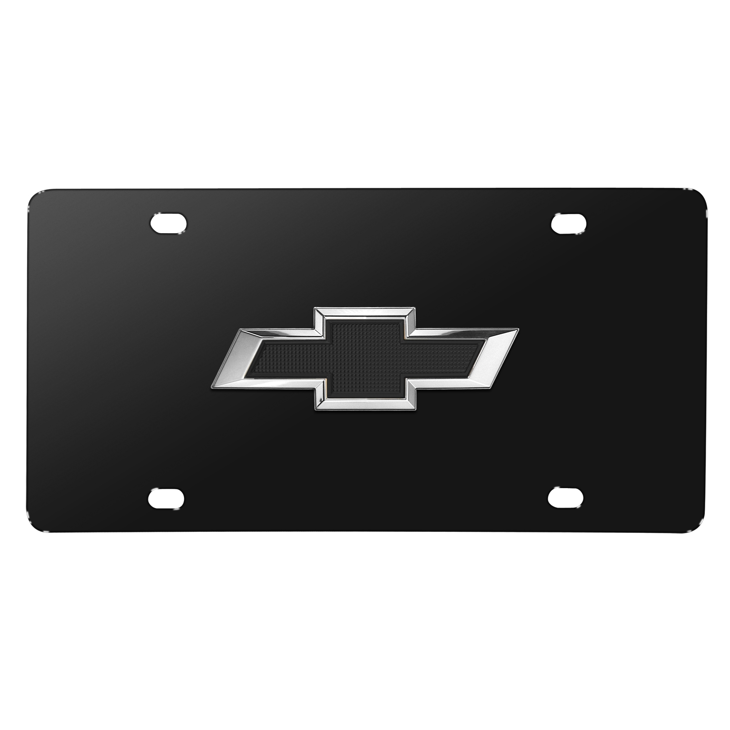 Chevrolet Black Bowtie 3D Logo Black Stainless Steel License Plate