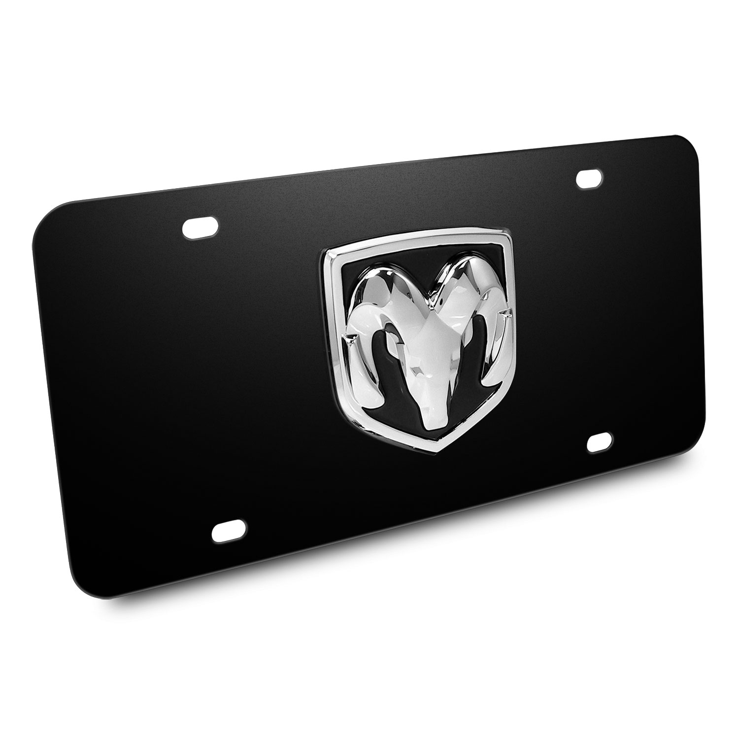 RAM 3D Logo Black Stainless Steel License Plate