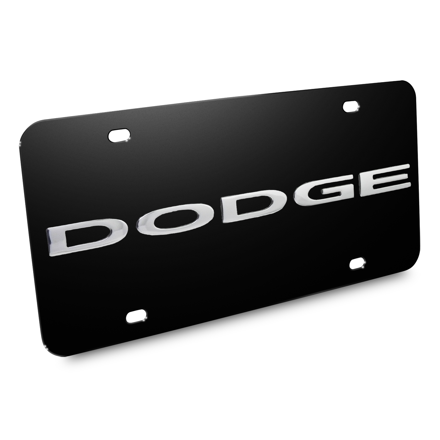 Dodge Nameplate/Trucks 3D Logo Black Stainless Steel License Plate