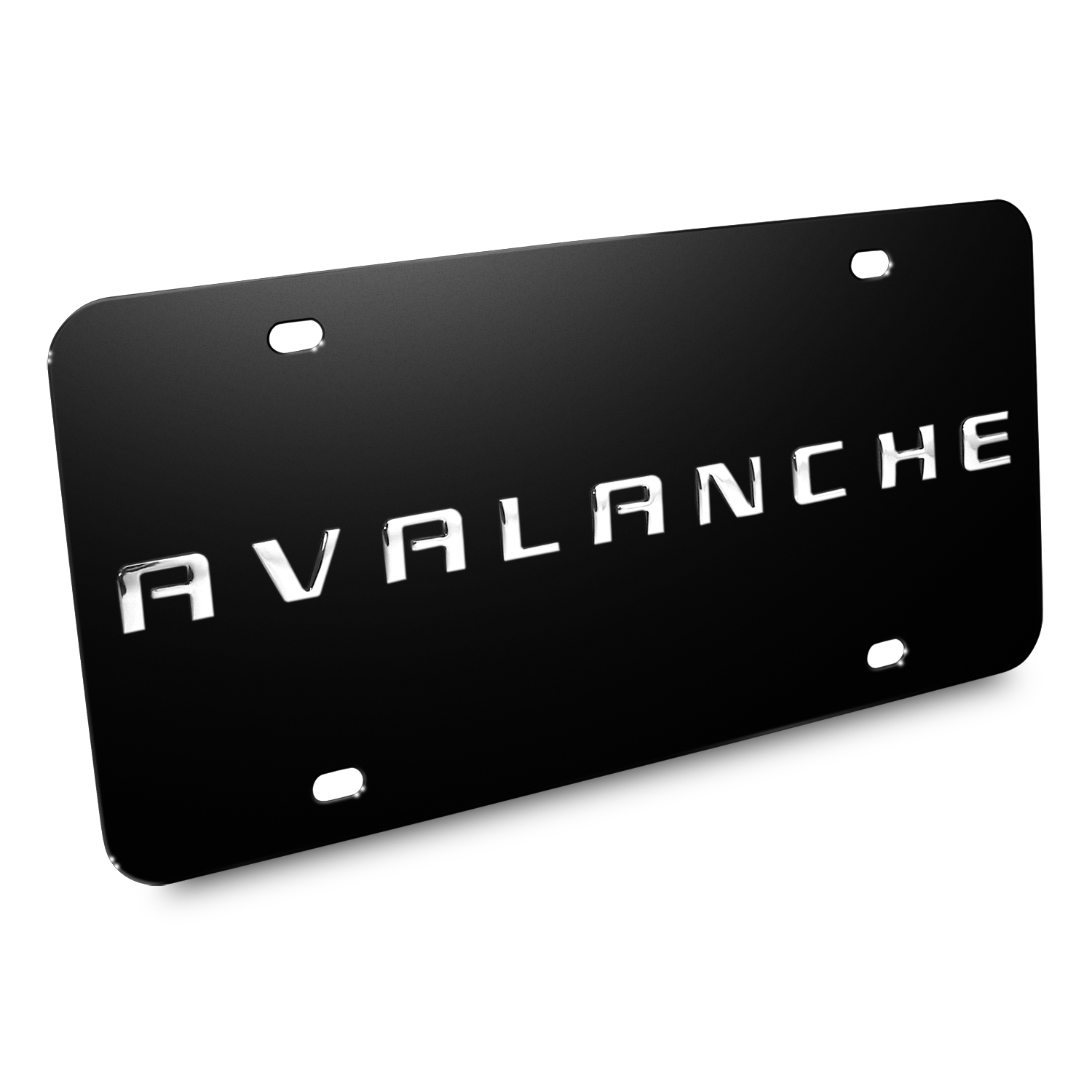 Chevrolet Avalanche Nameplate 3D Logo Black Stainless Steel License Plate