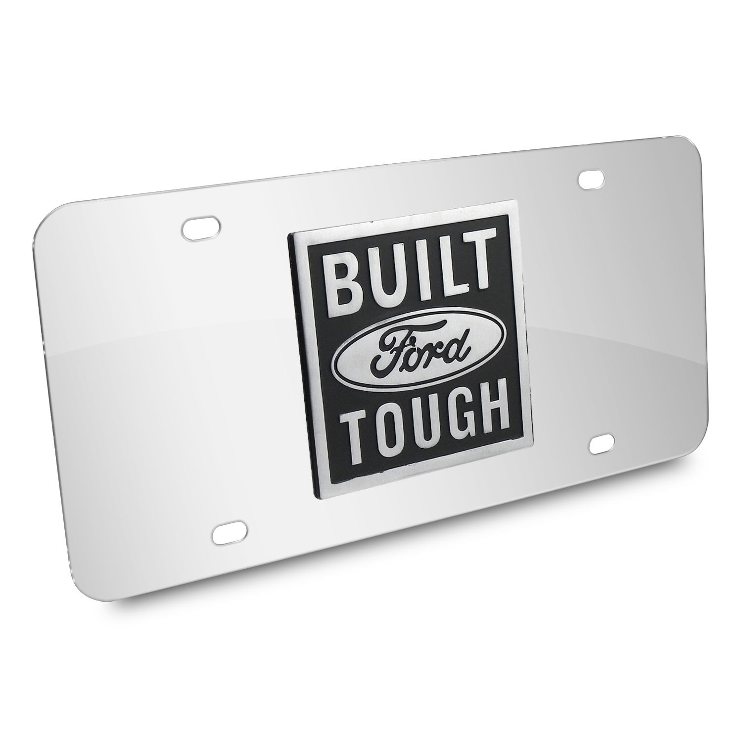 Ford Built Ford Tough 3D Logo Chrome Stainless Steel License Plate