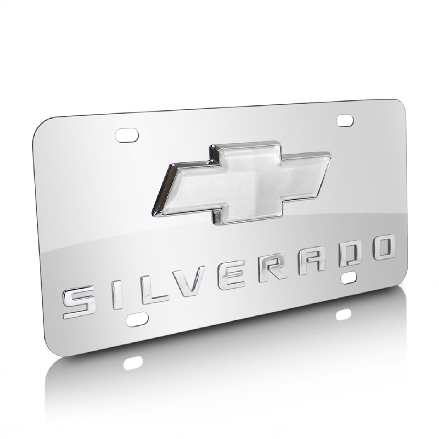Chevrolet Silverado Bowtie 3D Logo Chrome Stainless Steel License Plate