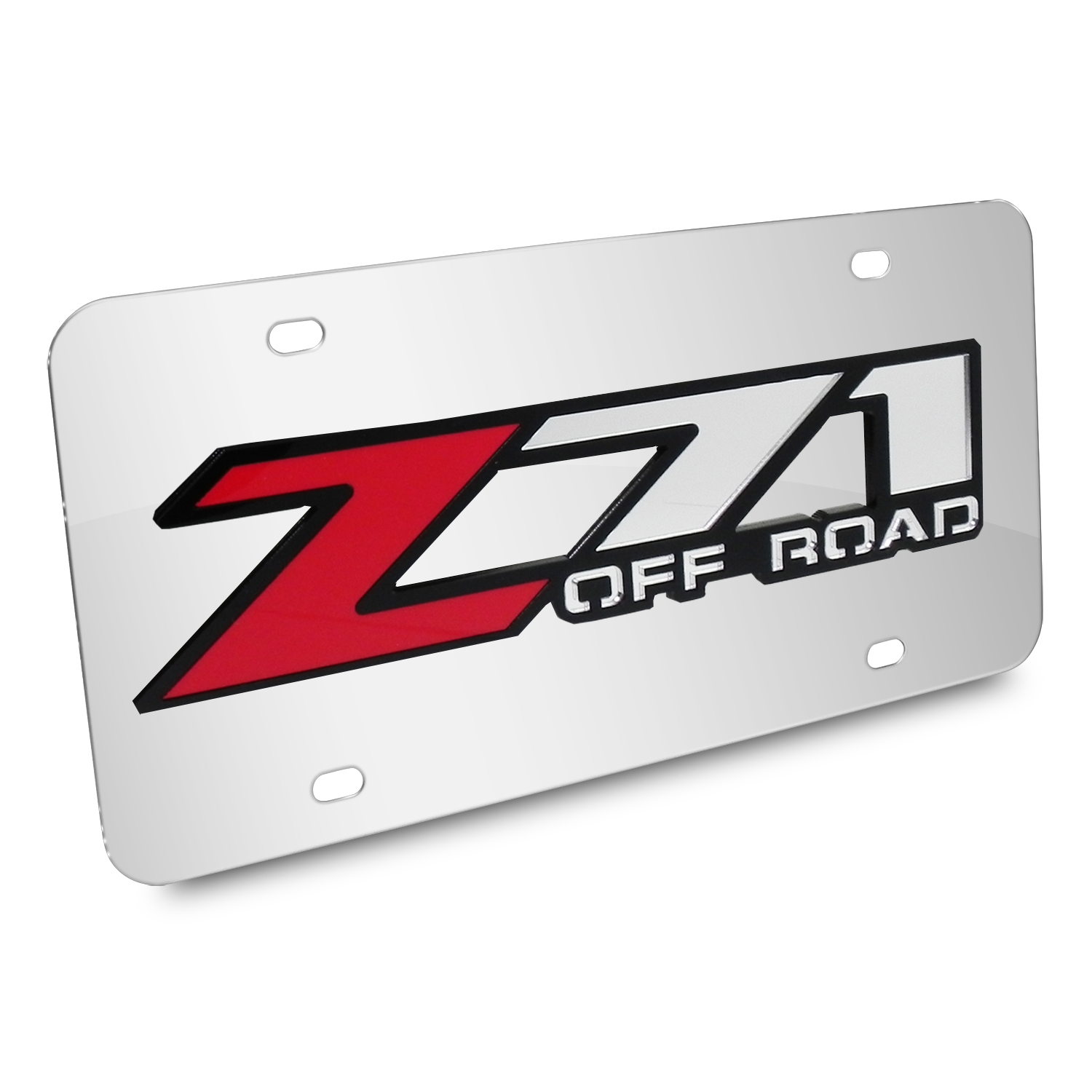 Chevrolet Z71 Offroad 3D Logo Chrome Stainless Steel License Plate