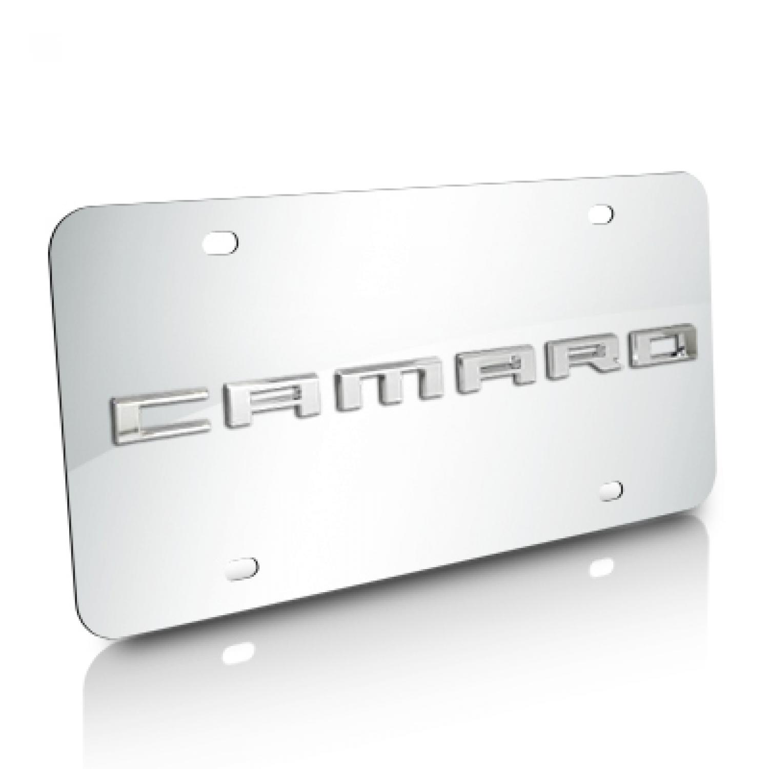 Chevrolet Camaro Nameplate 3D Logo Chrome Stainless Steel License Plate