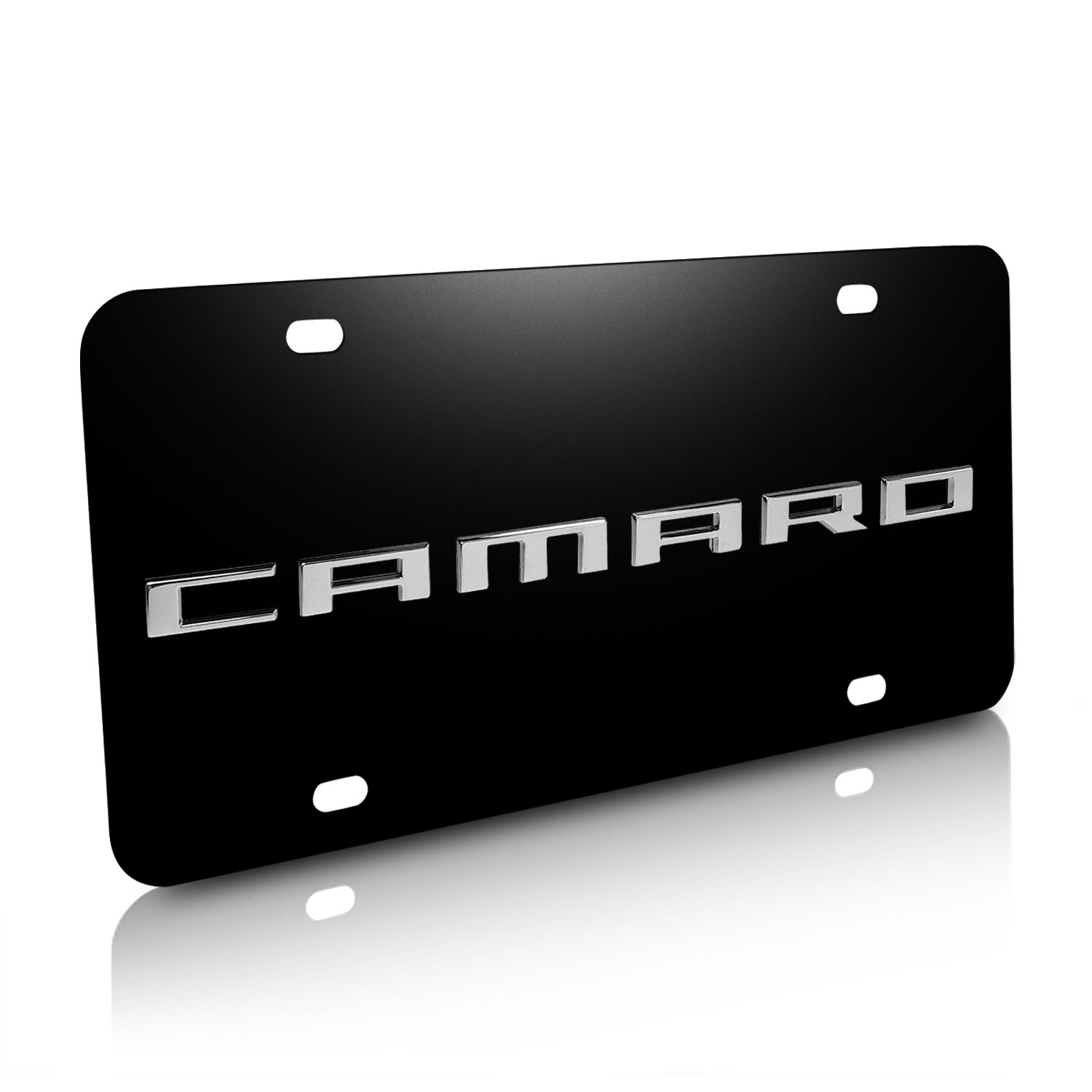 Chevrolet Camaro Nameplate 3D Logo Black Stainless Steel License Plate