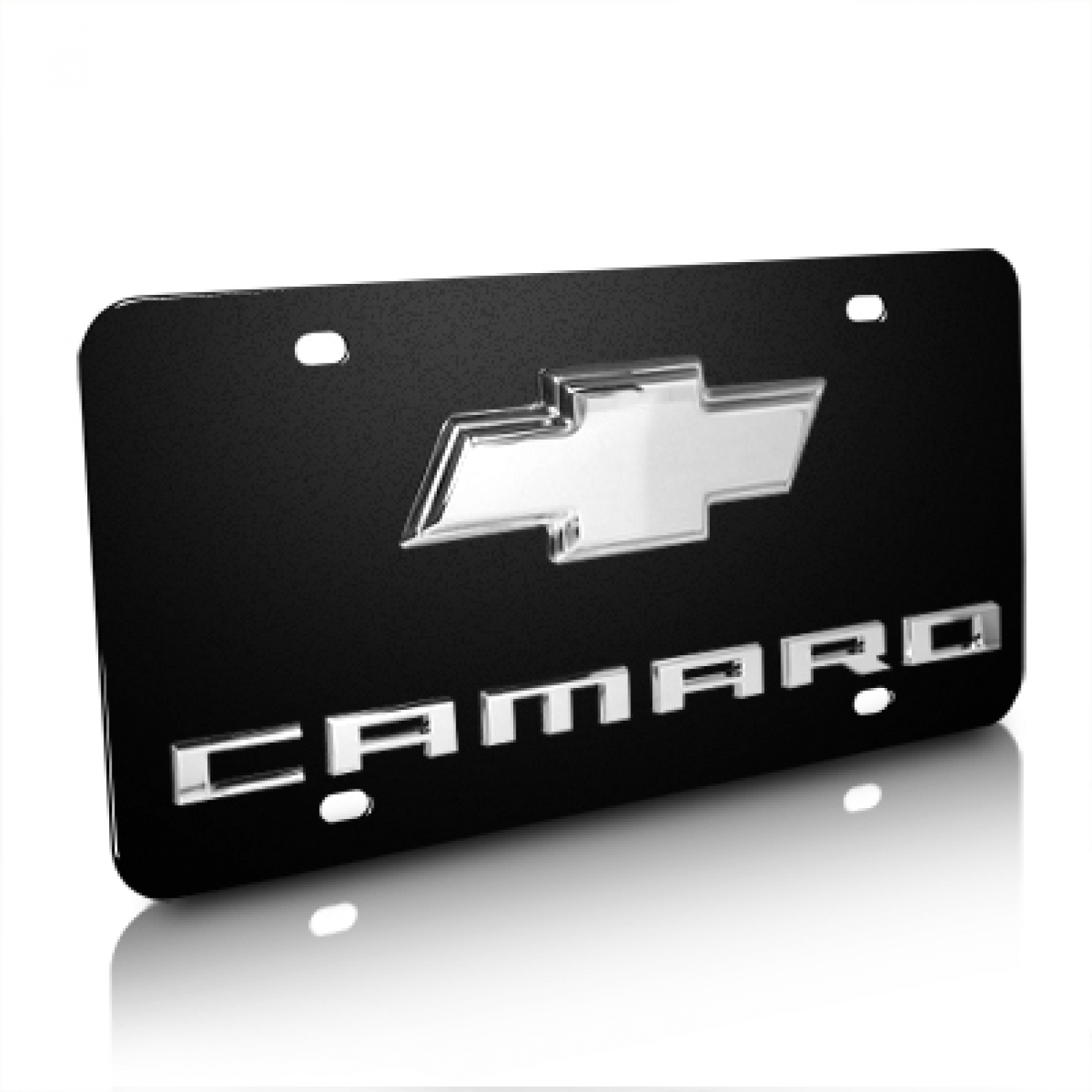 Chevrolet Camaro With Chrome Bowtie 3D Logo Black Stainless Steel License Plate