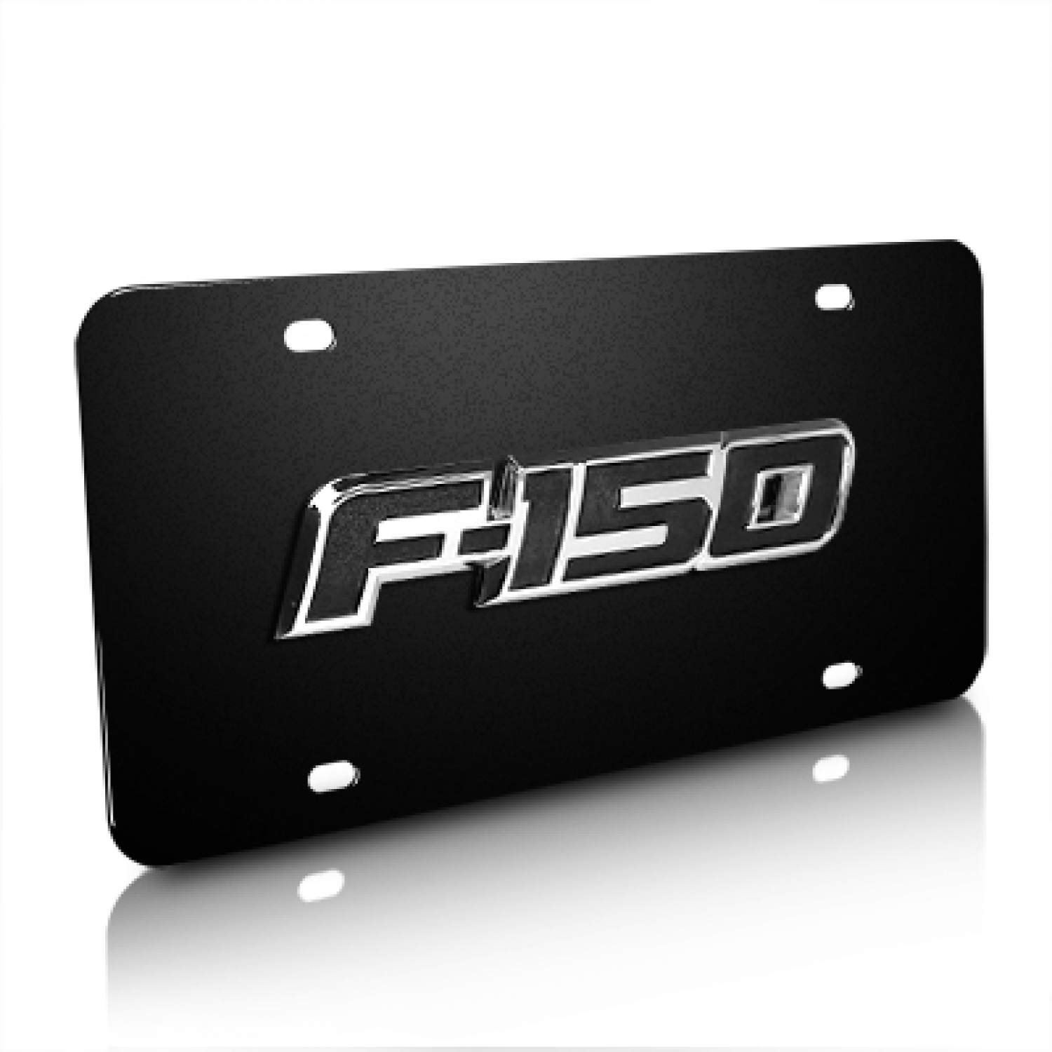 Ford F-150 3D Logo Black Stainless Steel License Plate