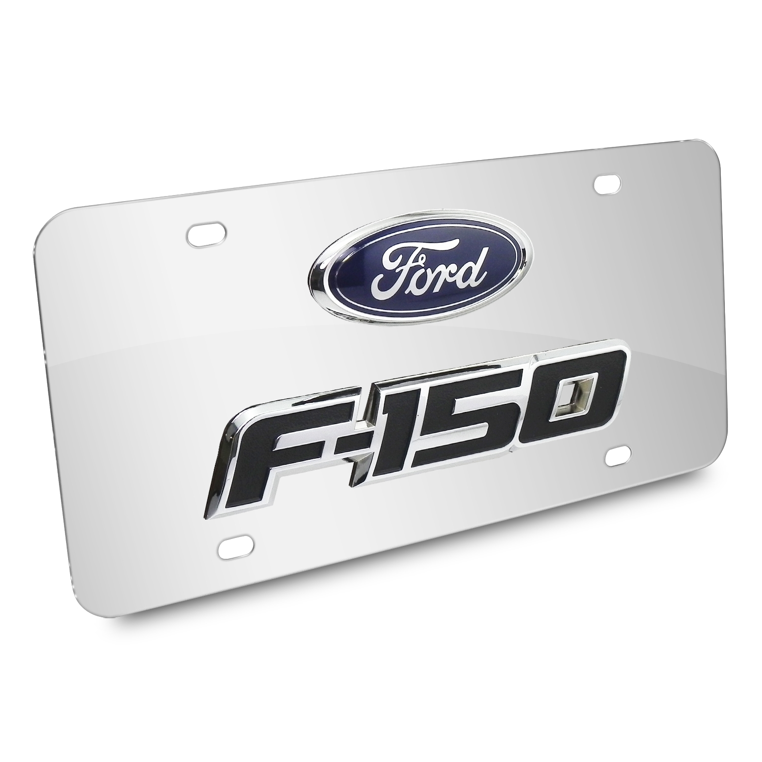 Ford F-150 Double 3D Logo Chrome Stainless Steel License Plate