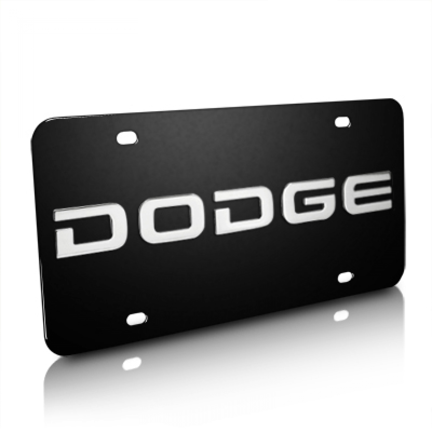 Dodge Nameplate 3D Logo Black Stainless Steel License Plate
