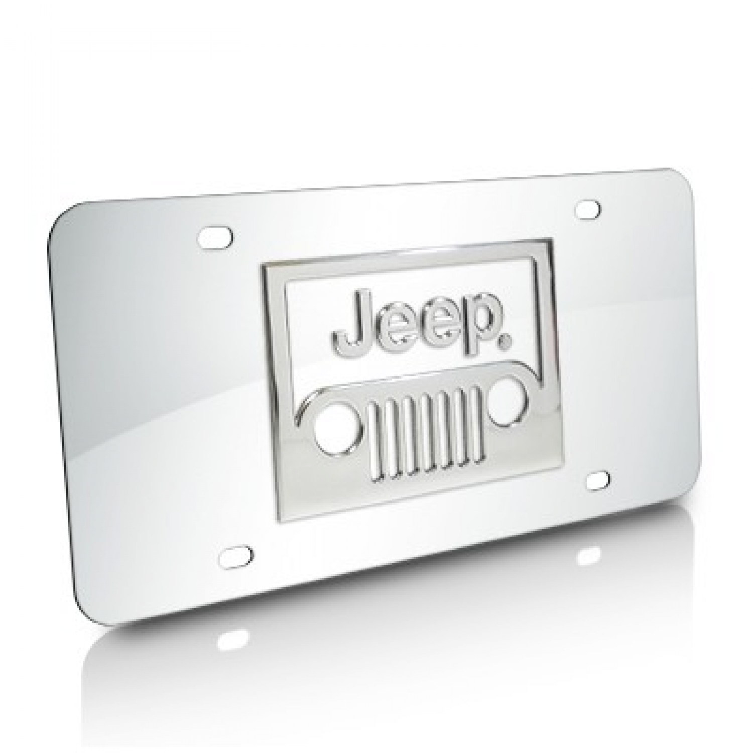 Jeep Grille 3D Logo Chrome Stainless Steel License Plate