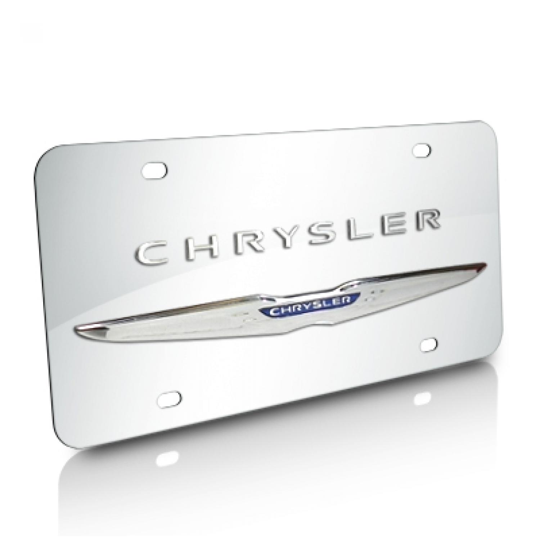 Chrysler Wings Double 3D Logo Chrome Stainless Steel License Plate