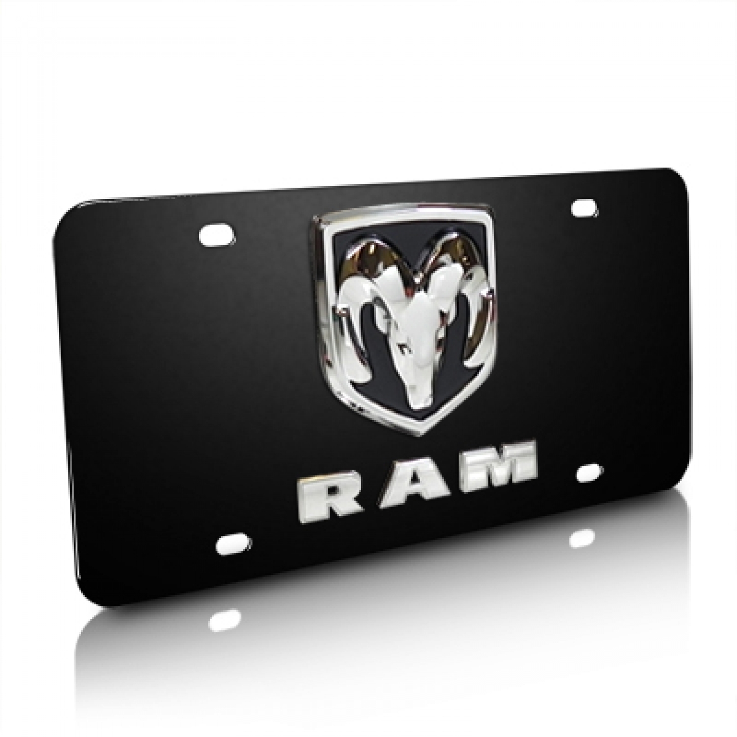 RAM Double 3D Logo Black Stainless Steel License Plate