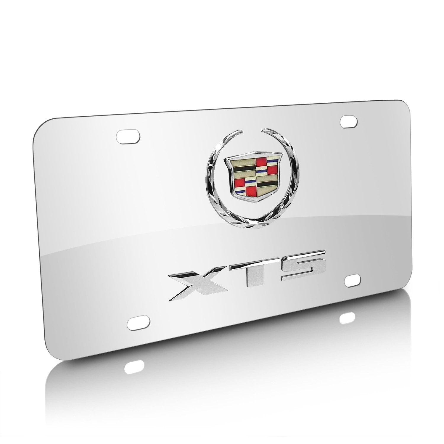 Cadillac XTS Double 3D Logo Chrome Stainless Steel License Plate