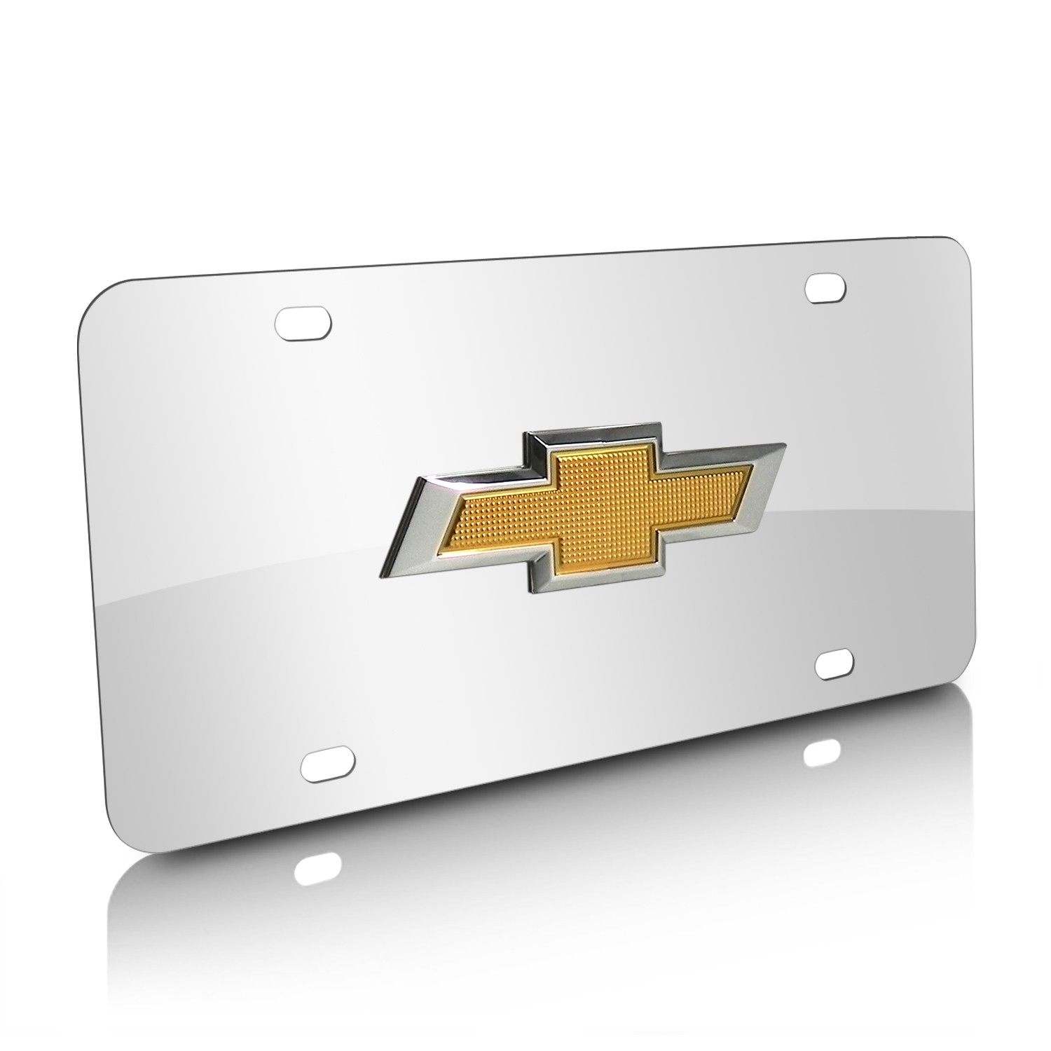 Chevrolet New Gold Bowtie 3D Logo Chrome Stainless Steel License Plate