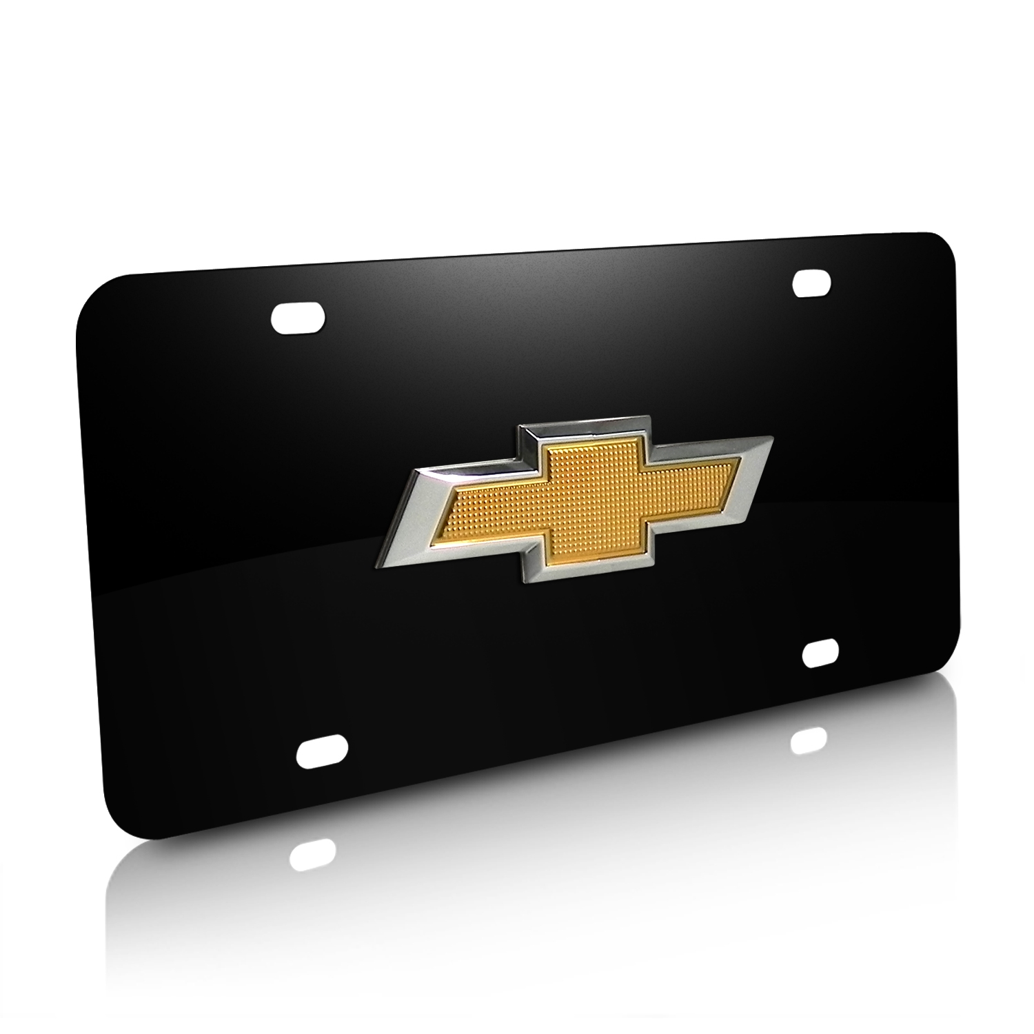 Chevrolet New Gold Bowtie 3D Logo Black Stainless Steel License Plate