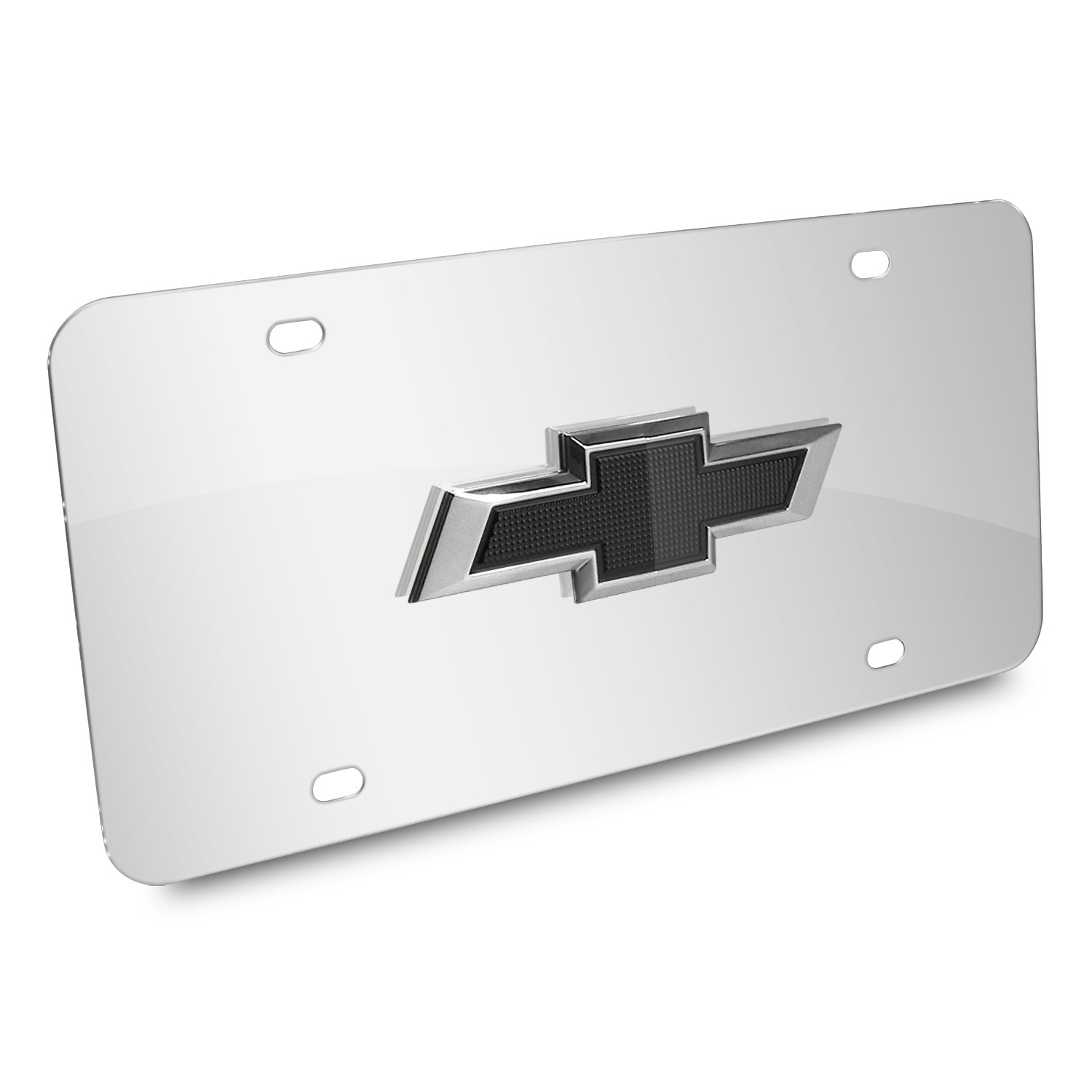 Chevrolet Black Bowtie 3D Logo Chrome Stainless Steel License Plate
