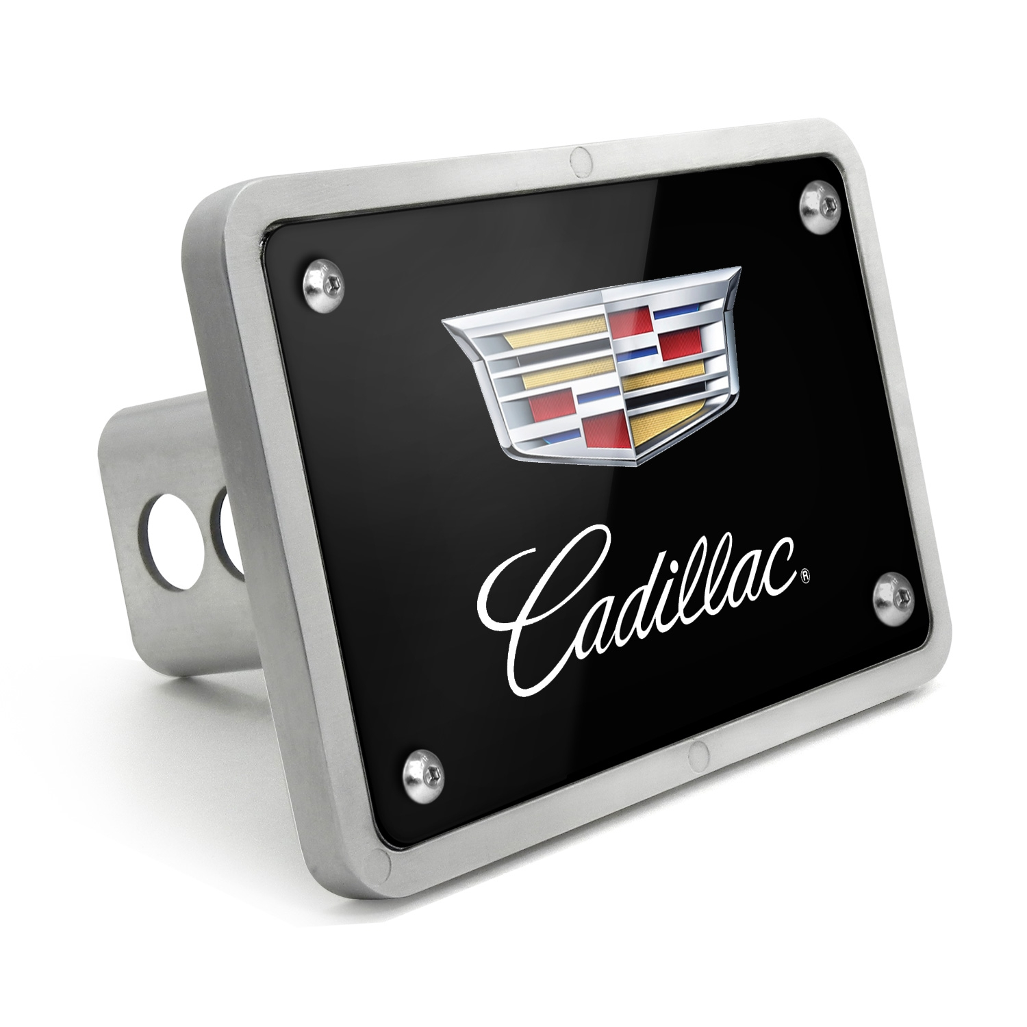 Cadillac Logo 2015 UV Graphic Black Billet Aluminum 2 inch Tow Hitch Cover