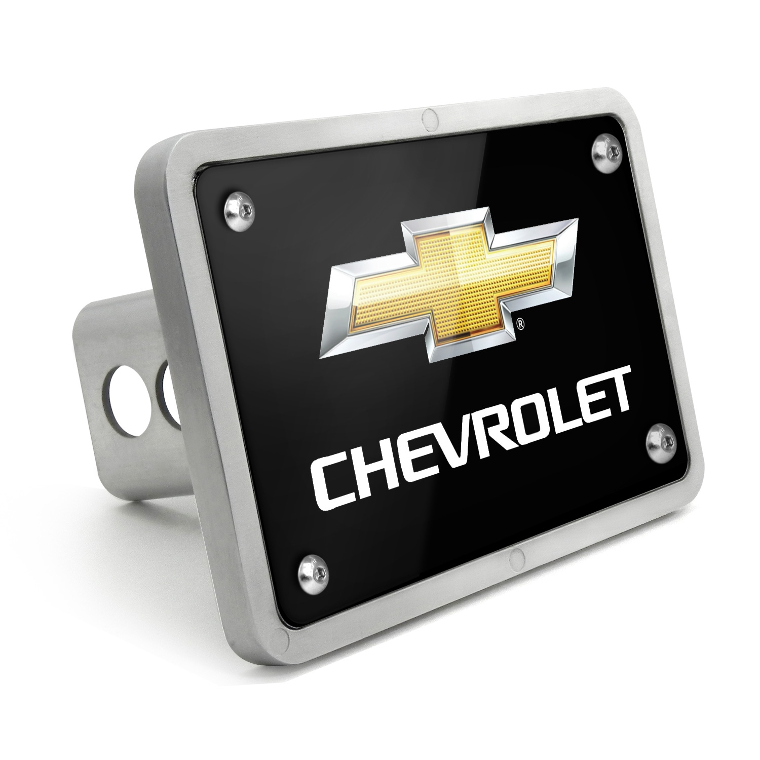 Chevrolet Logo 2011 UV Graphic Black Billet Aluminum 2 inch Tow Hitch Cover
