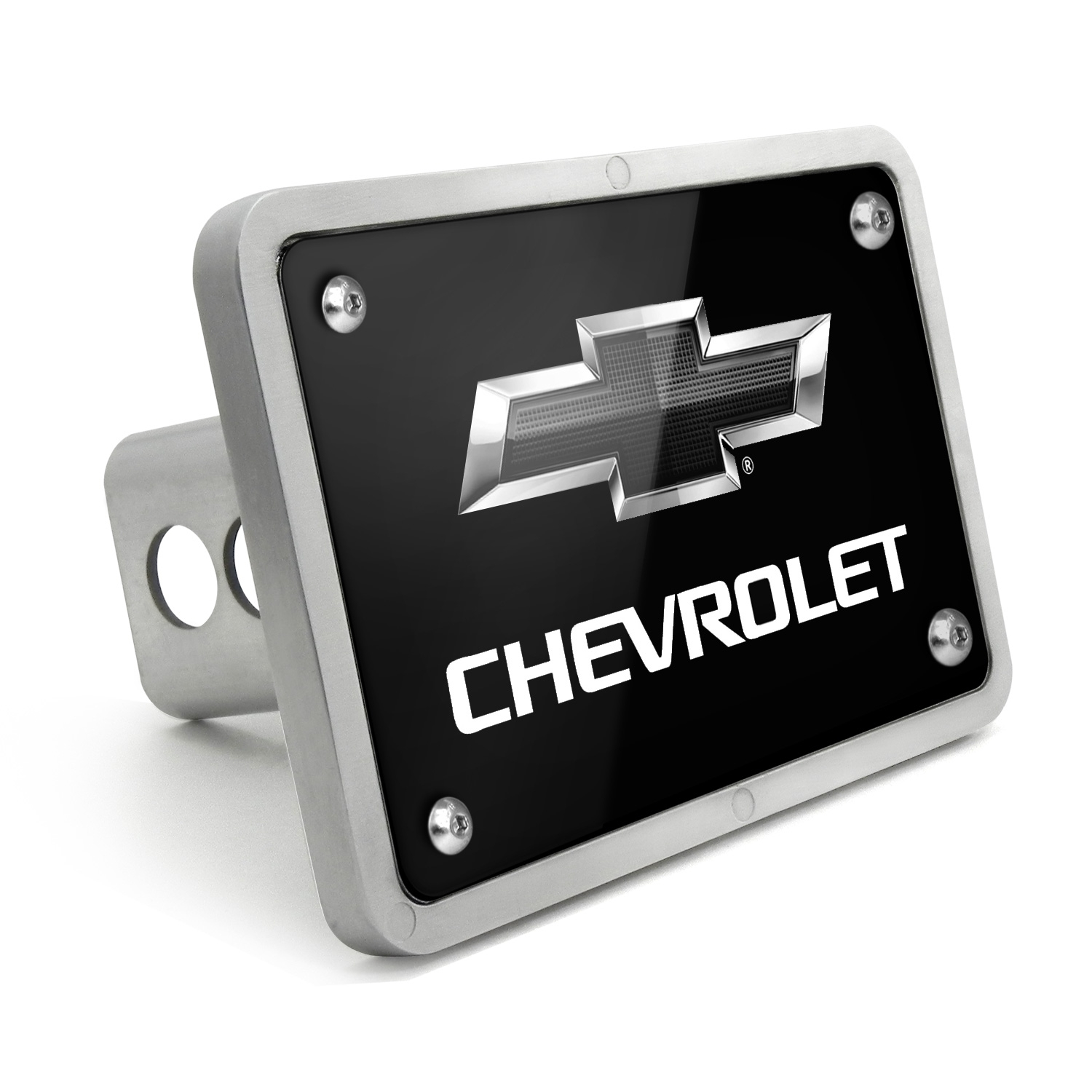Chevrolet Black Logo 2011 UV Graphic Black Billet Aluminum 2 inch Tow Hitch Cover