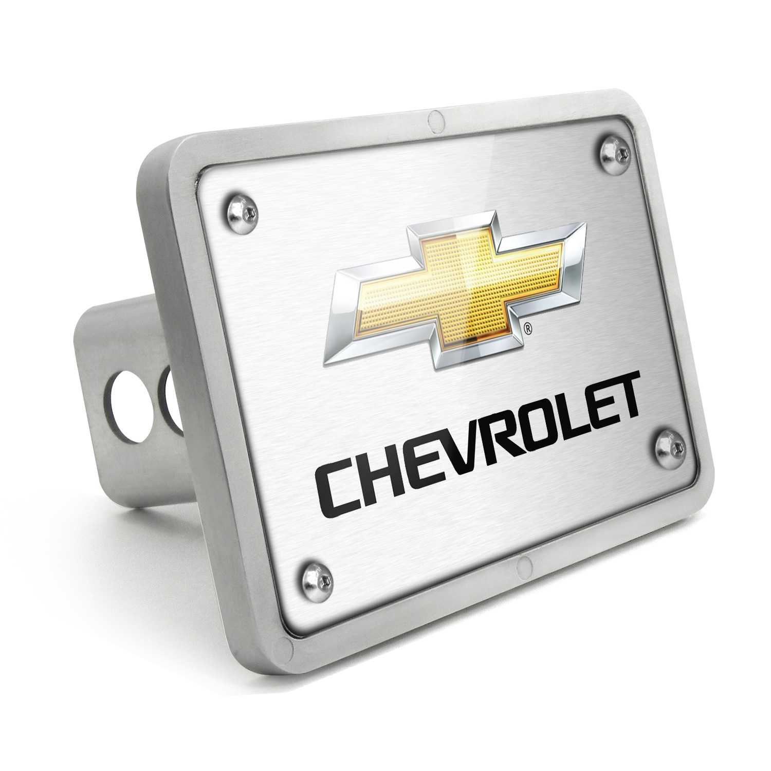 Chevrolet Logo 2011 UV Graphic Brushed Silver Billet Aluminum 2 inch Tow Hitch Cover