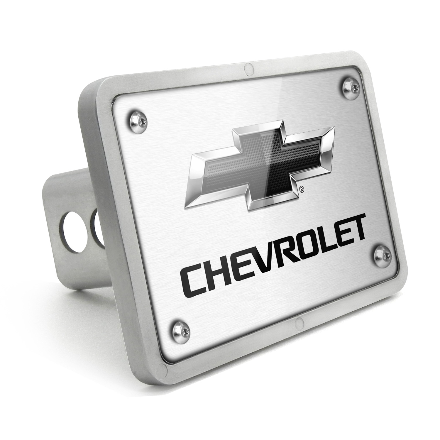 Chevrolet Black Logo 2011 UV Graphic Brushed Silver Billet Aluminum 2 inch Tow Hitch Cover