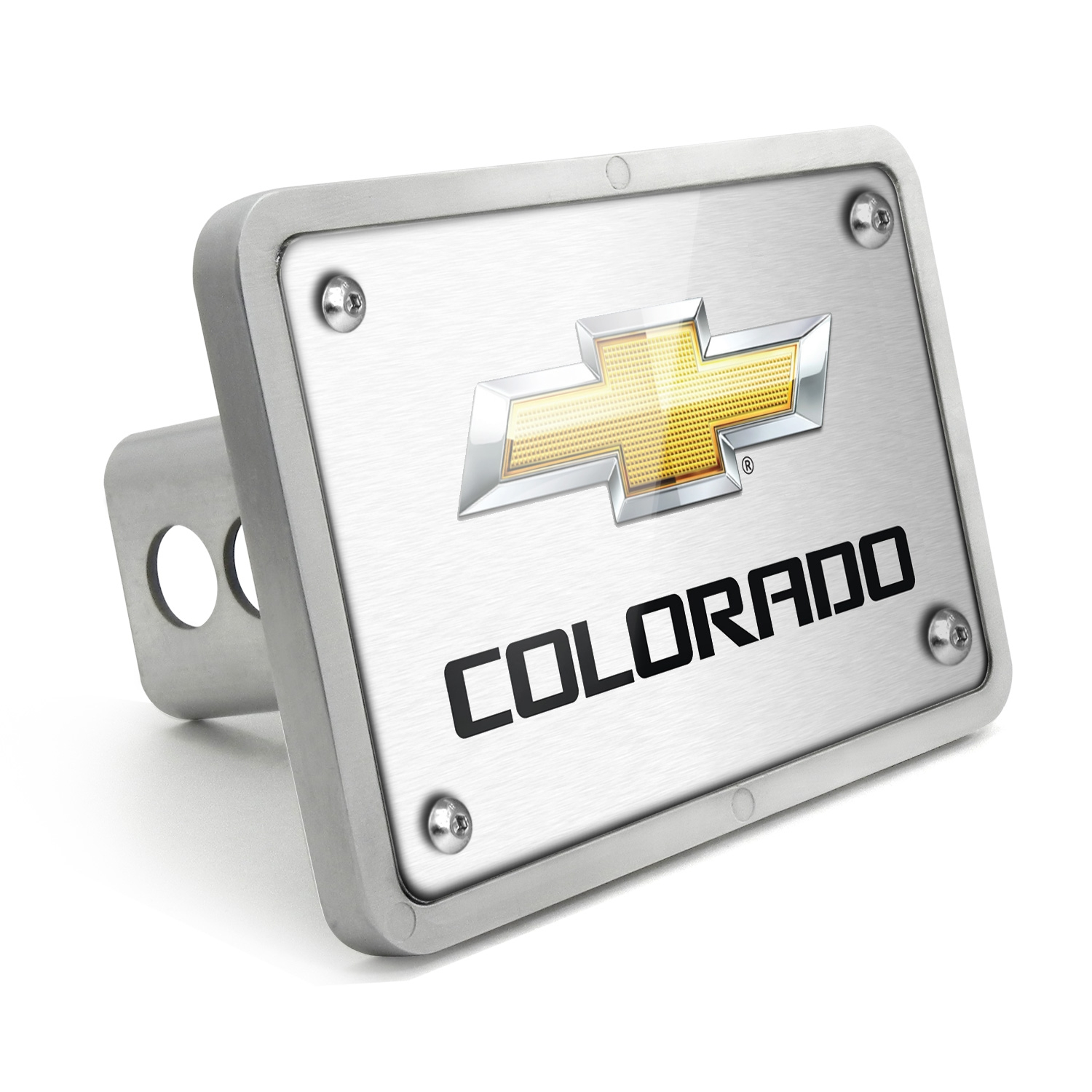 Chevrolet Colorado 2012 UV Graphic Brushed Silver Billet Aluminum 2 inch Tow Hitch Cover