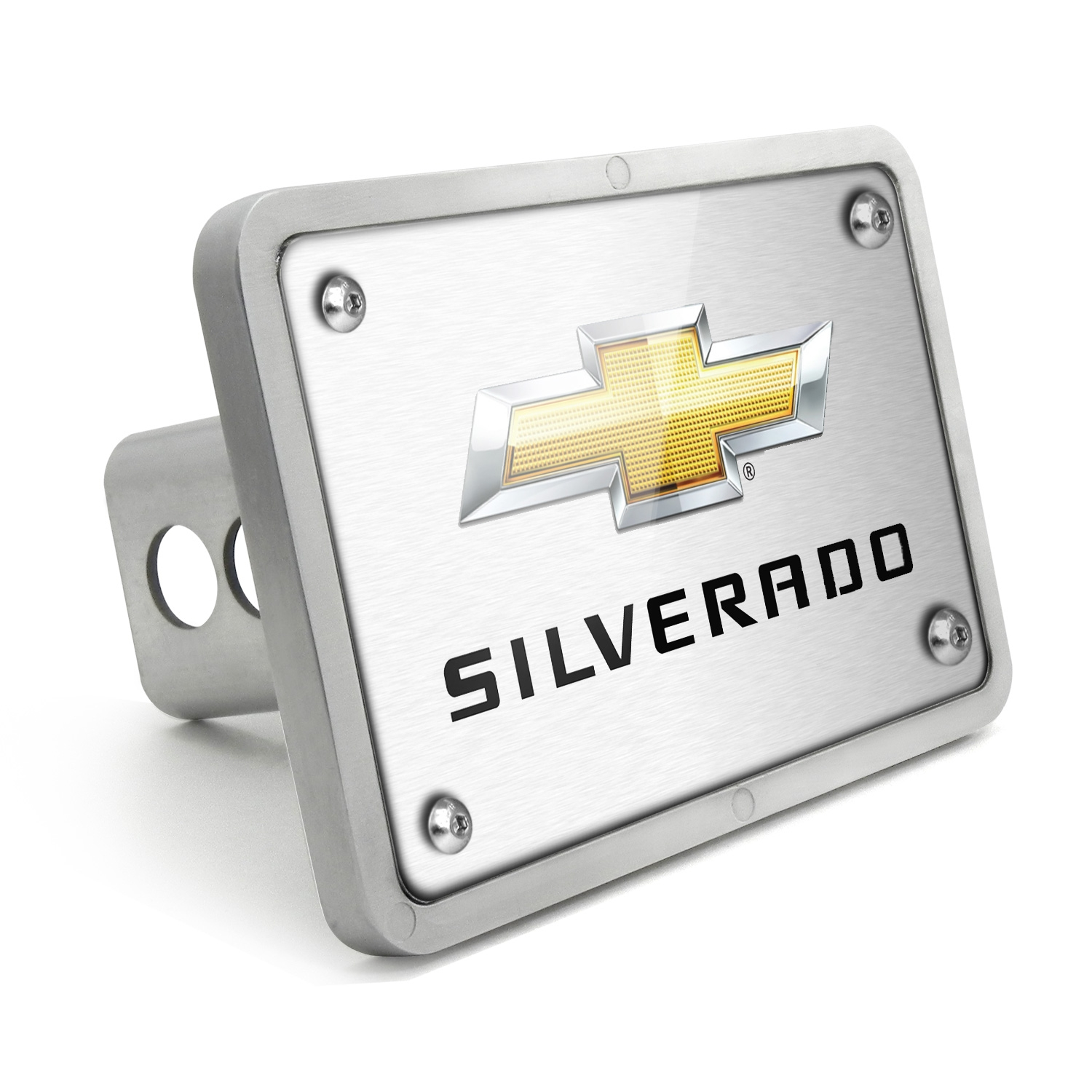 Chevrolet Silverado 2014 UV Graphic Brushed Silver Billet Aluminum 2 inch Tow Hitch Cover