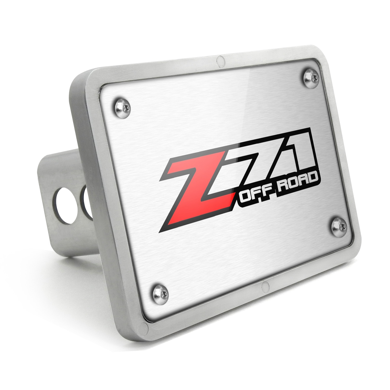 Chevrolet Z71 Off Road 2014 UV Graphic Brushed Silver Billet Aluminum 2 inch Tow Hitch Cover