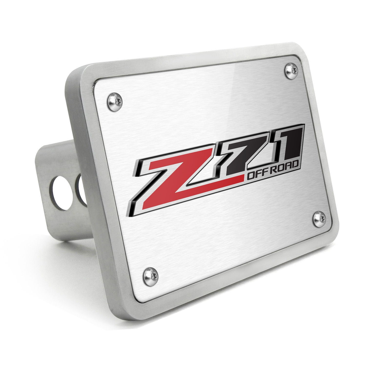 Chevrolet Silverado Z71 Off Road 3D Logo Brush Billet Aluminum 2 inch Tow Hitch Cover