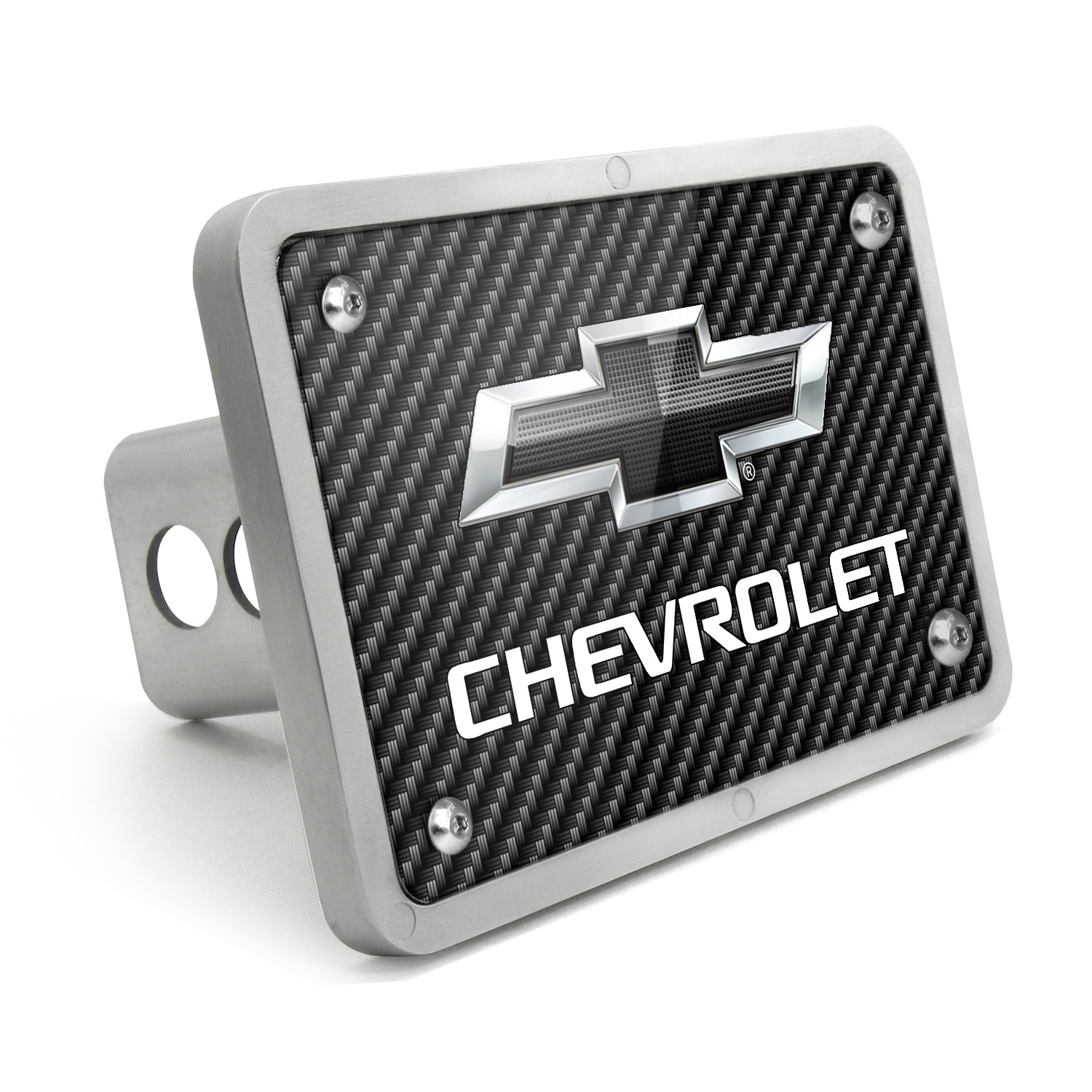 Chevrolet Black Logo 2011 UV Graphic Carbon Fiber Texture Billet Aluminum 2 inch Tow Hitch Cover