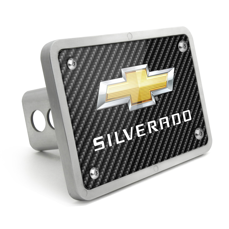 Chevrolet Silverado 2014 UV Graphic Carbon Fiber Texture Billet Aluminum 2 inch Tow Hitch Cover