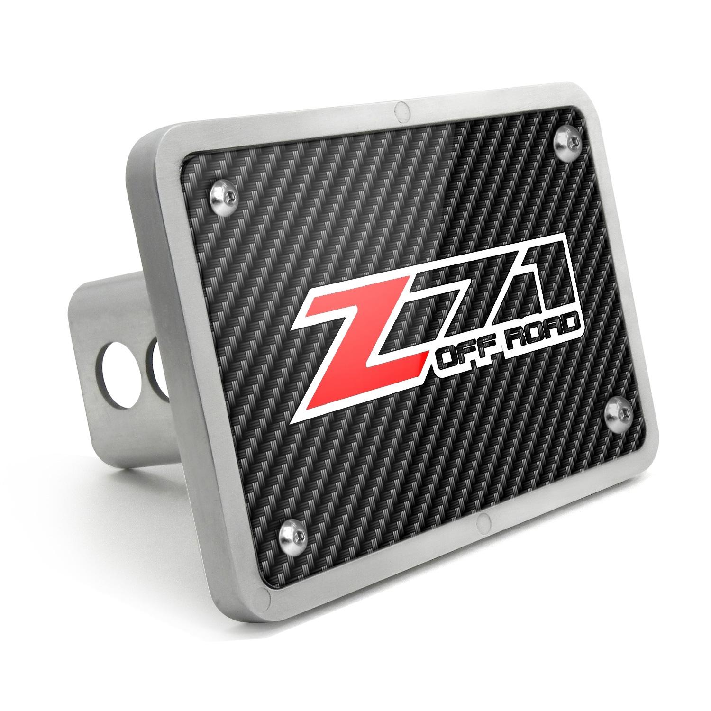 Chevrolet Z71 Off Road 2014 UV Graphic Carbon Fiber Texture Billet Aluminum 2 inch Tow Hitch Cover