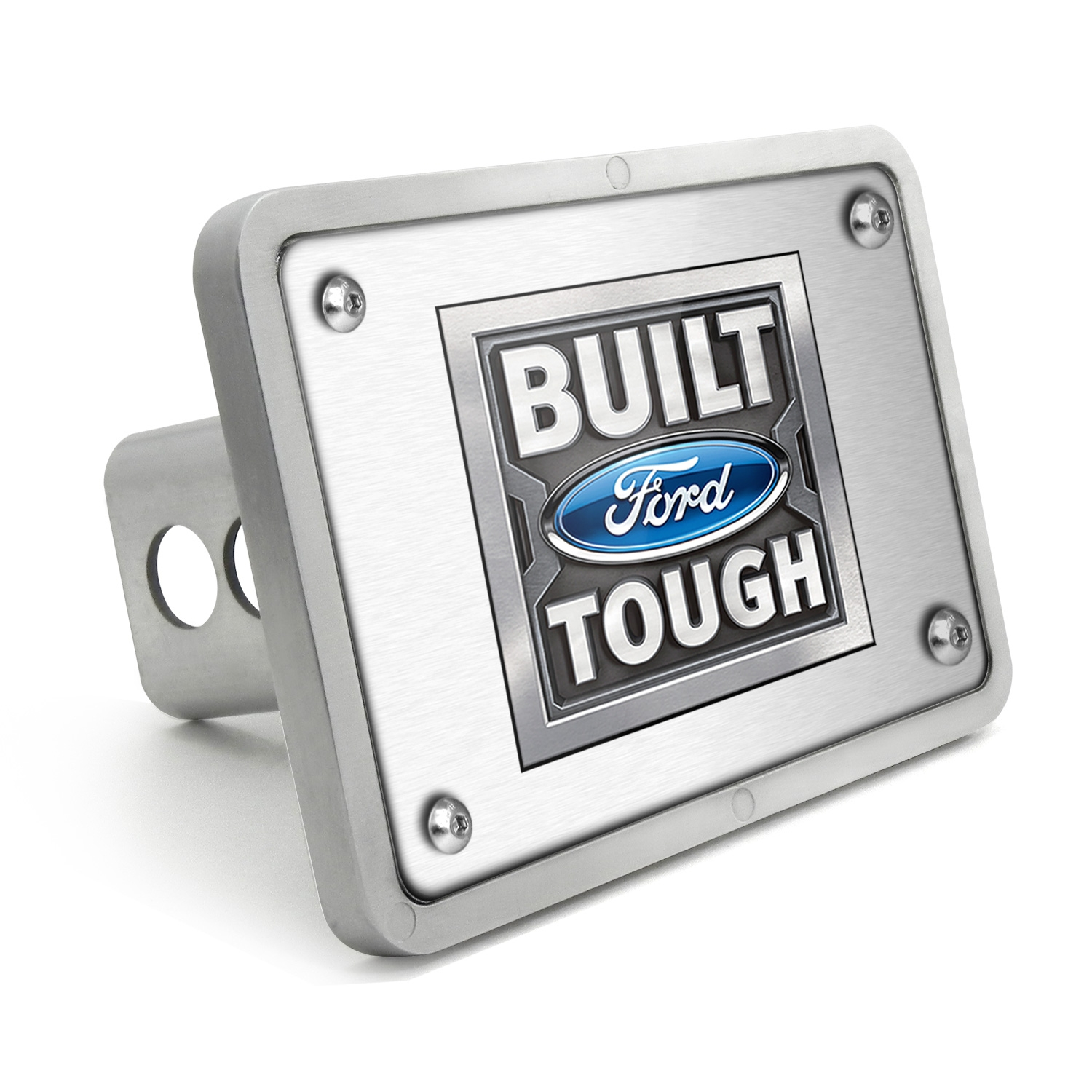 Ford Built Ford Tough UV Graphic Brushed Silver Billet Aluminum 2 inch Tow Hitch Cover