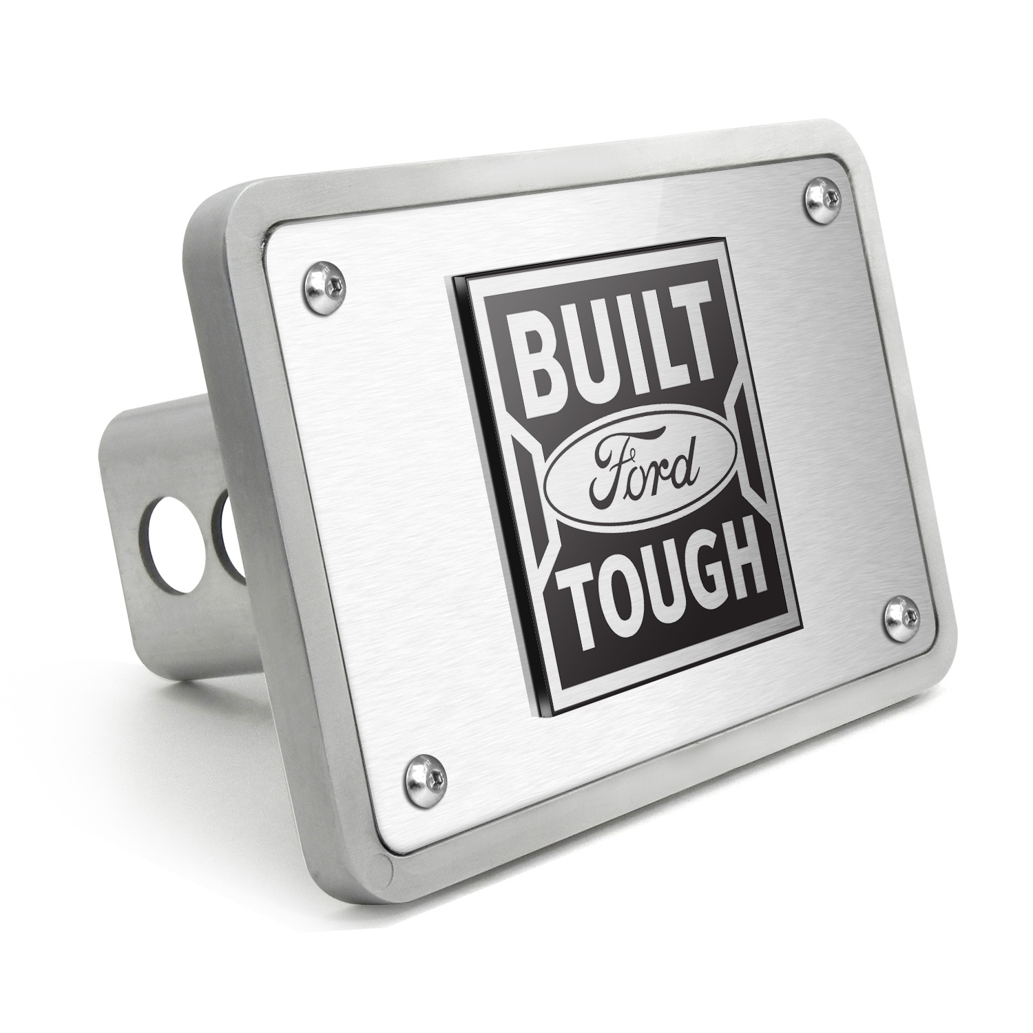 "Ford Built-Ford-Tough 3D Logo Brushed 3/8"" thick Billet Aluminum 2 inch Tow Hitch Cover"