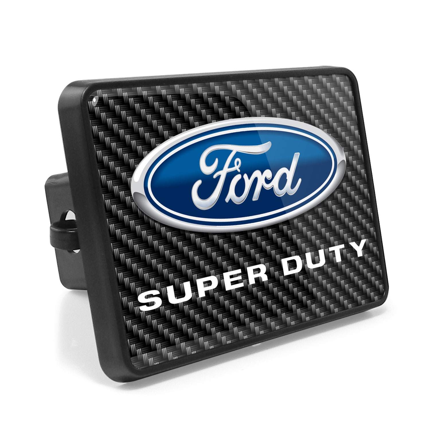 Ford F-Series Super Duty 2011 to 2016 Carbon Fiber Look UV Graphic Metal Plate on ABS Plastic 2 inch Tow Hitch Cover