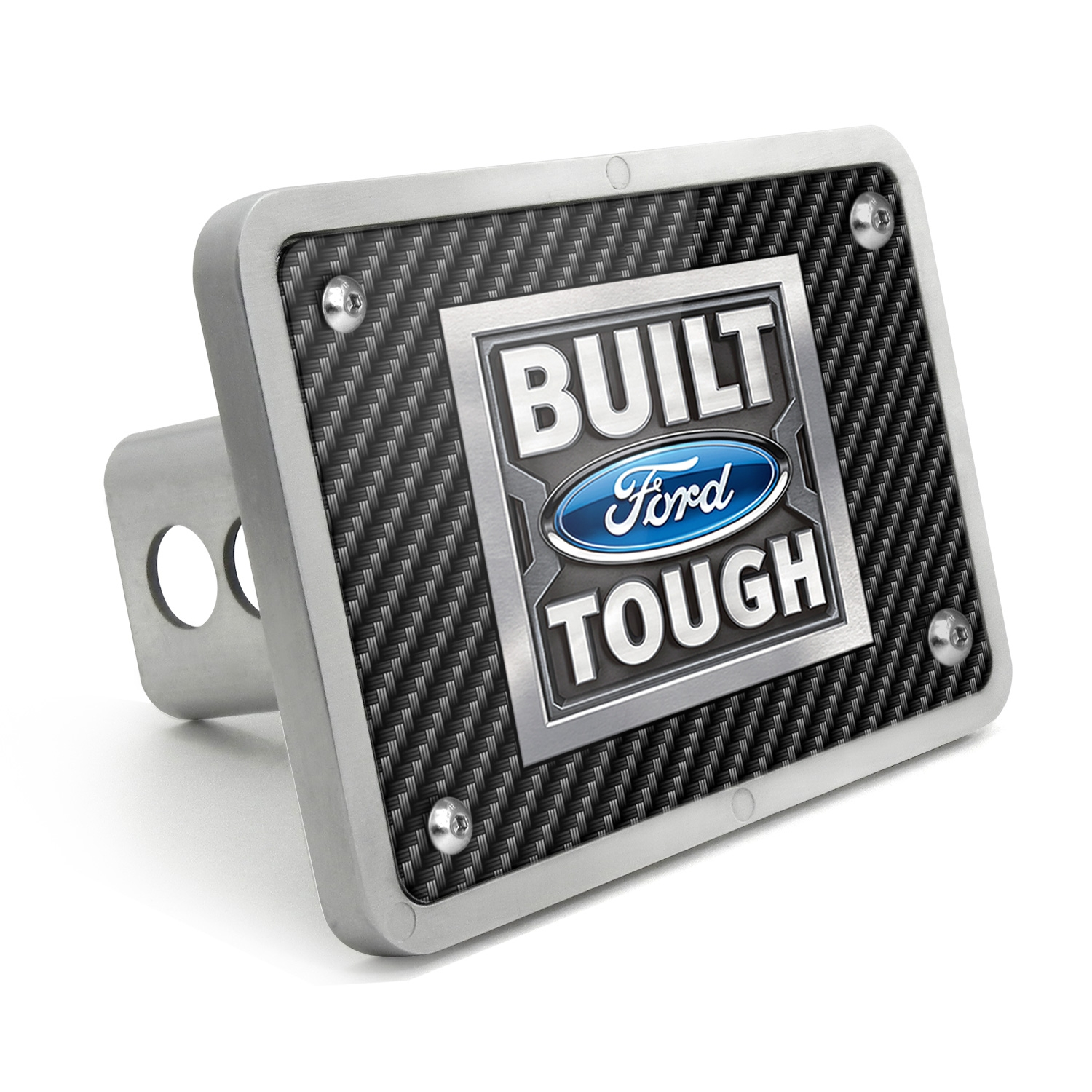 Ford Built Ford Tough Black Carbon Fiber Texture Plate Billet Aluminum 2 inch Tow Hitch Cover