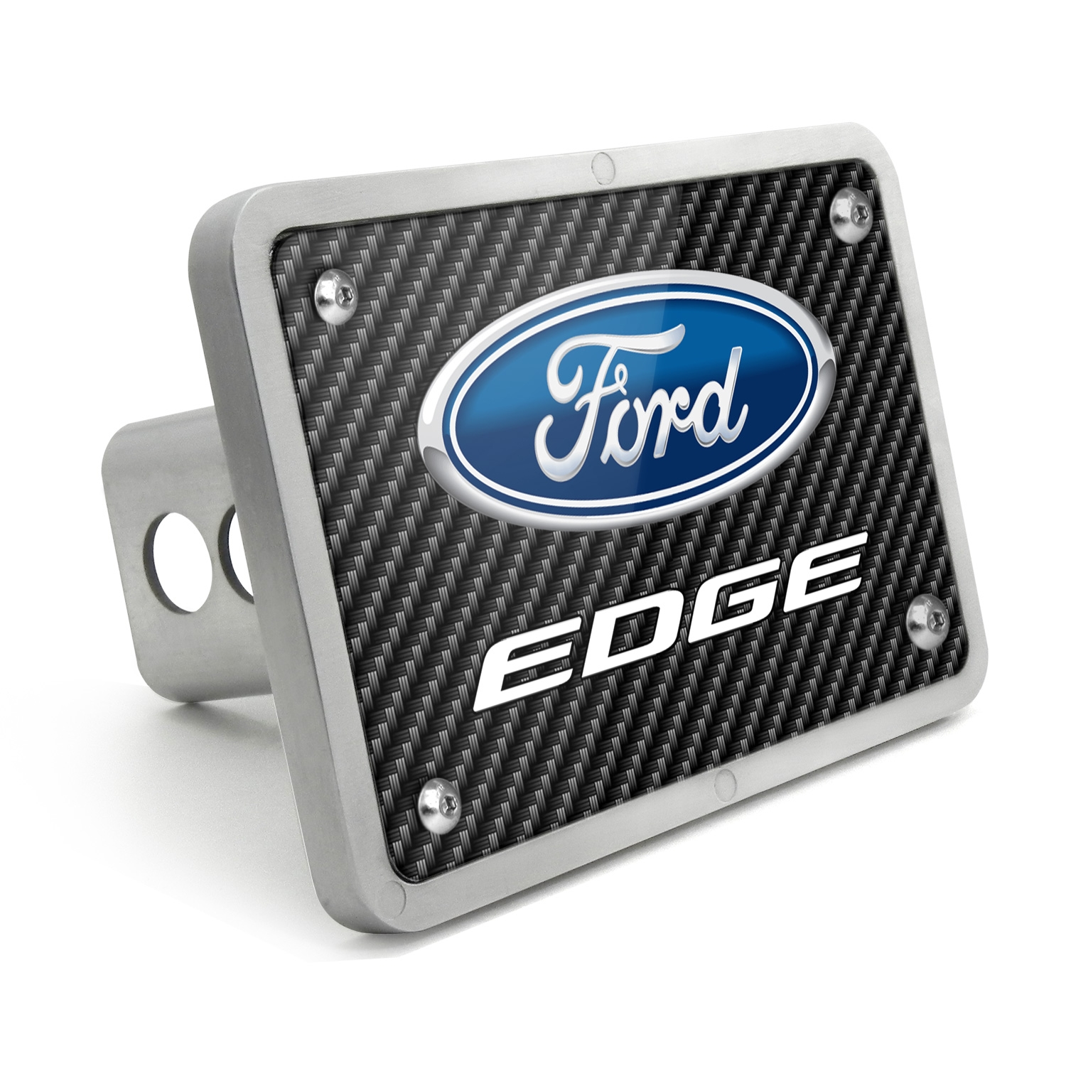 Ford Edge Black Carbon Fiber Texture Plate Billet Aluminum 2 inch Tow Hitch Cover