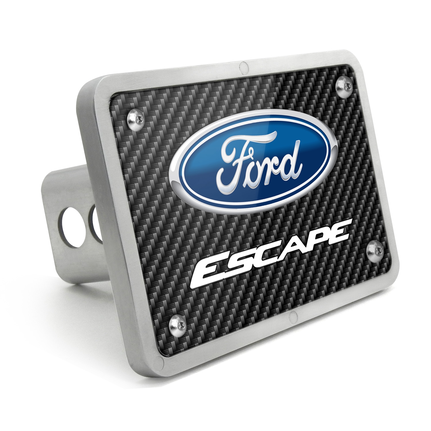Ford Escape Black Carbon Fiber Texture Plate Billet Aluminum 2 inch Tow Hitch Cover