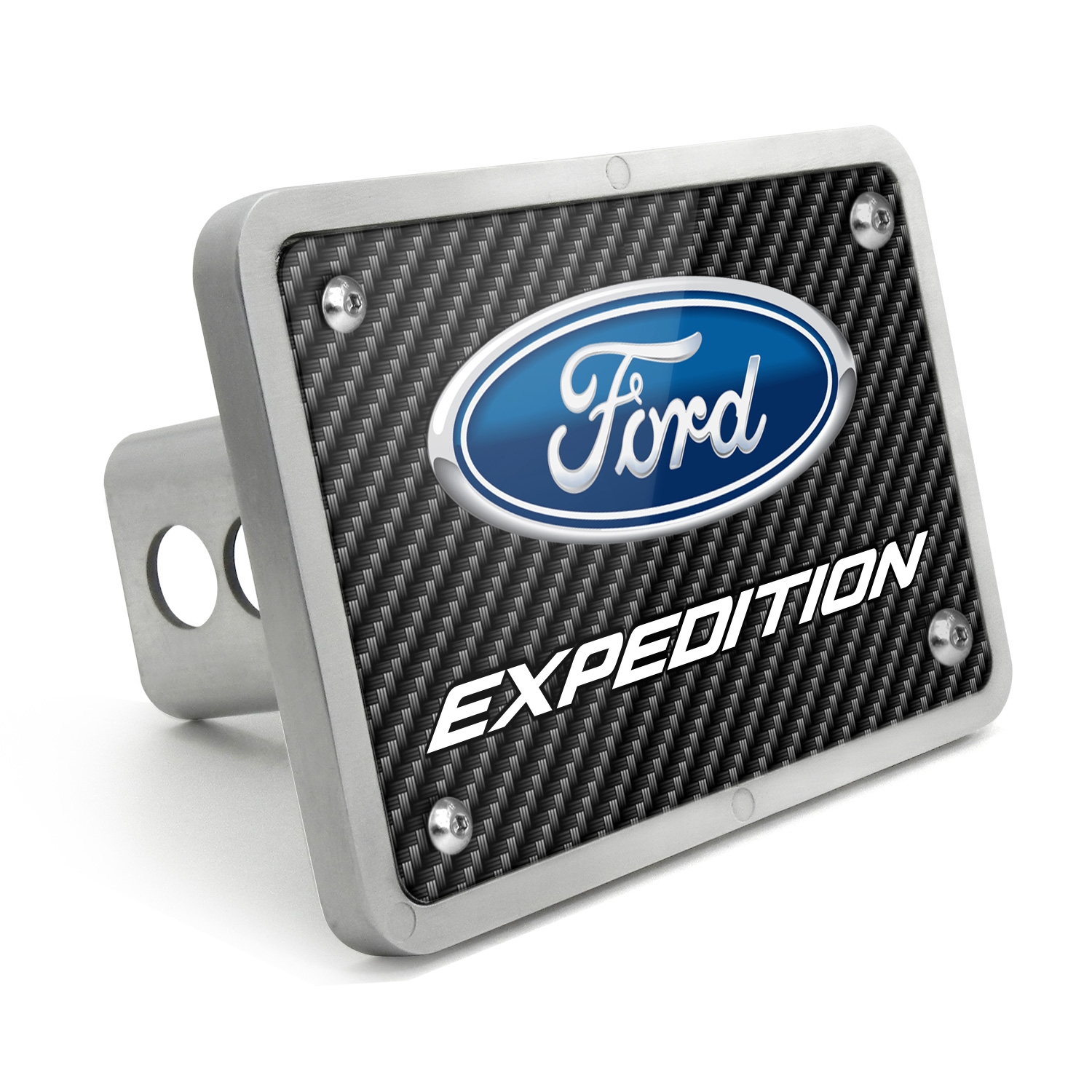 Ford Expedition Black Carbon Fiber Texture Plate Billet Aluminum 2 inch Tow Hitch Cover